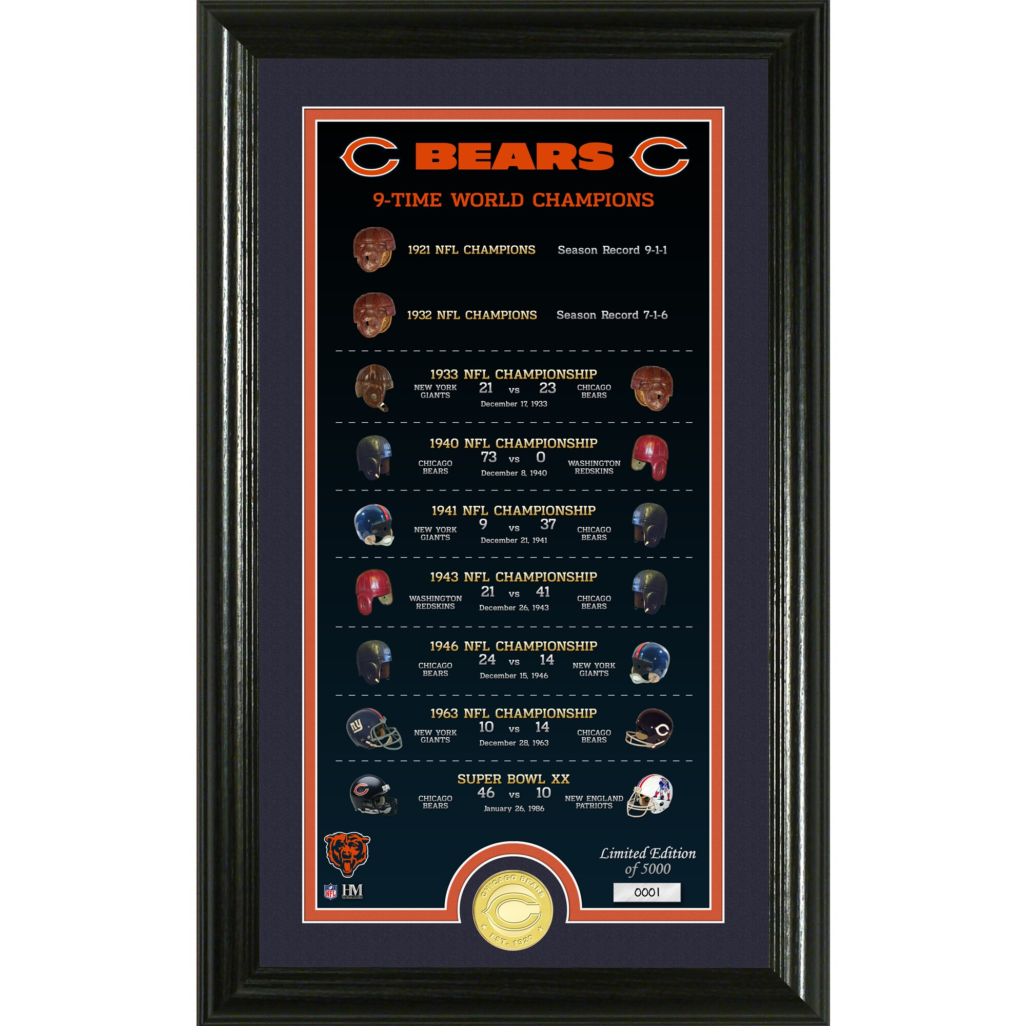 Chicago Bears Highland Mint 12'' x 20'' Team Legacy Photo Mint