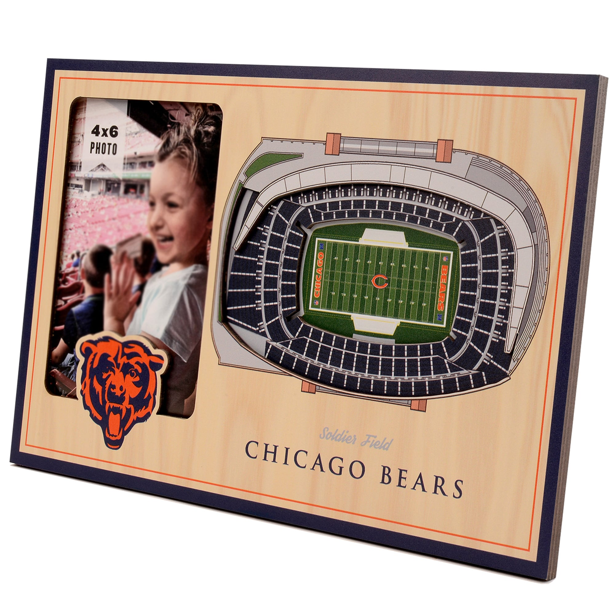 Chicago Bears 3D StadiumViews Picture Frame - Brown