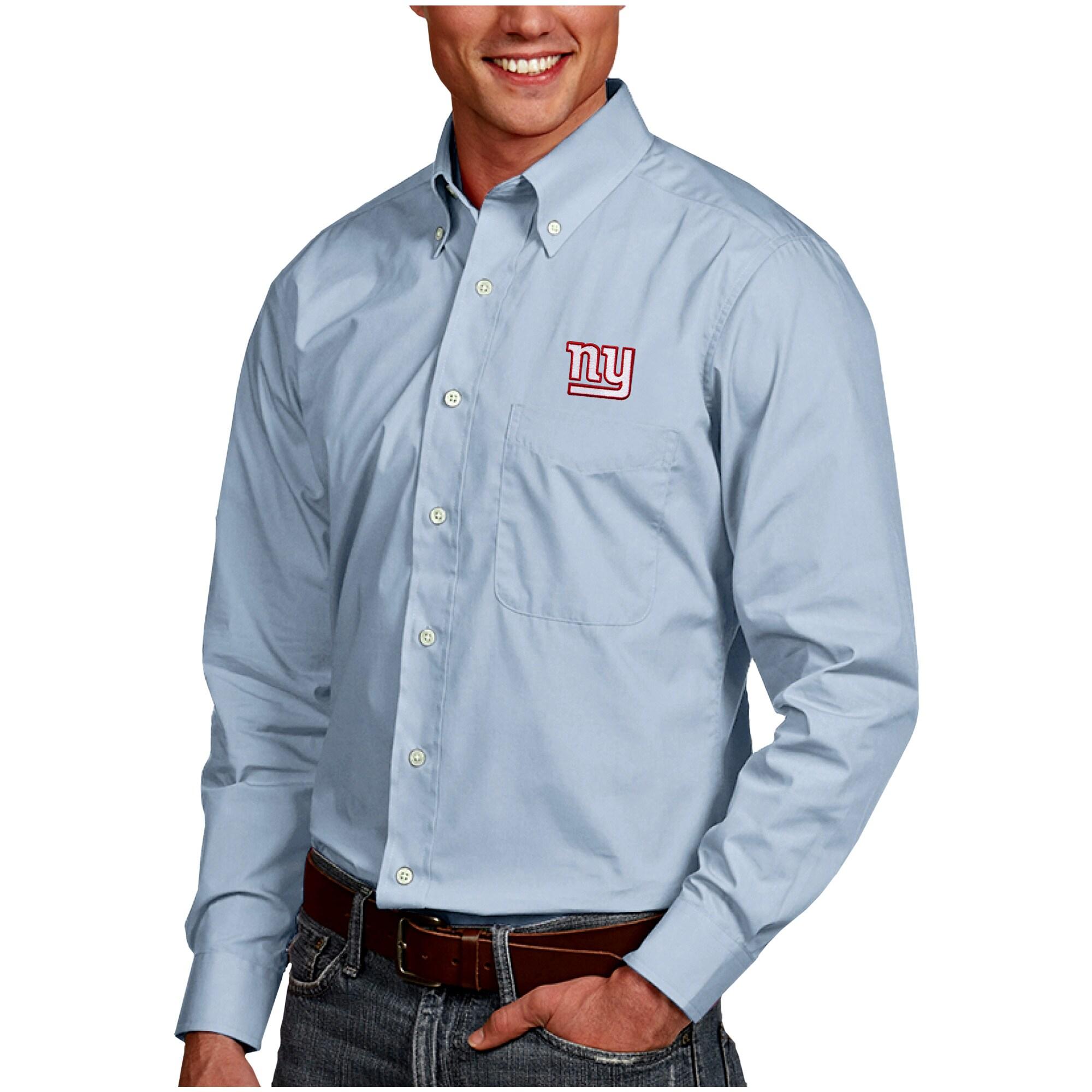 New York Giants Antigua Dynasty Woven Long Sleeve Button-Down Shirt - Royal