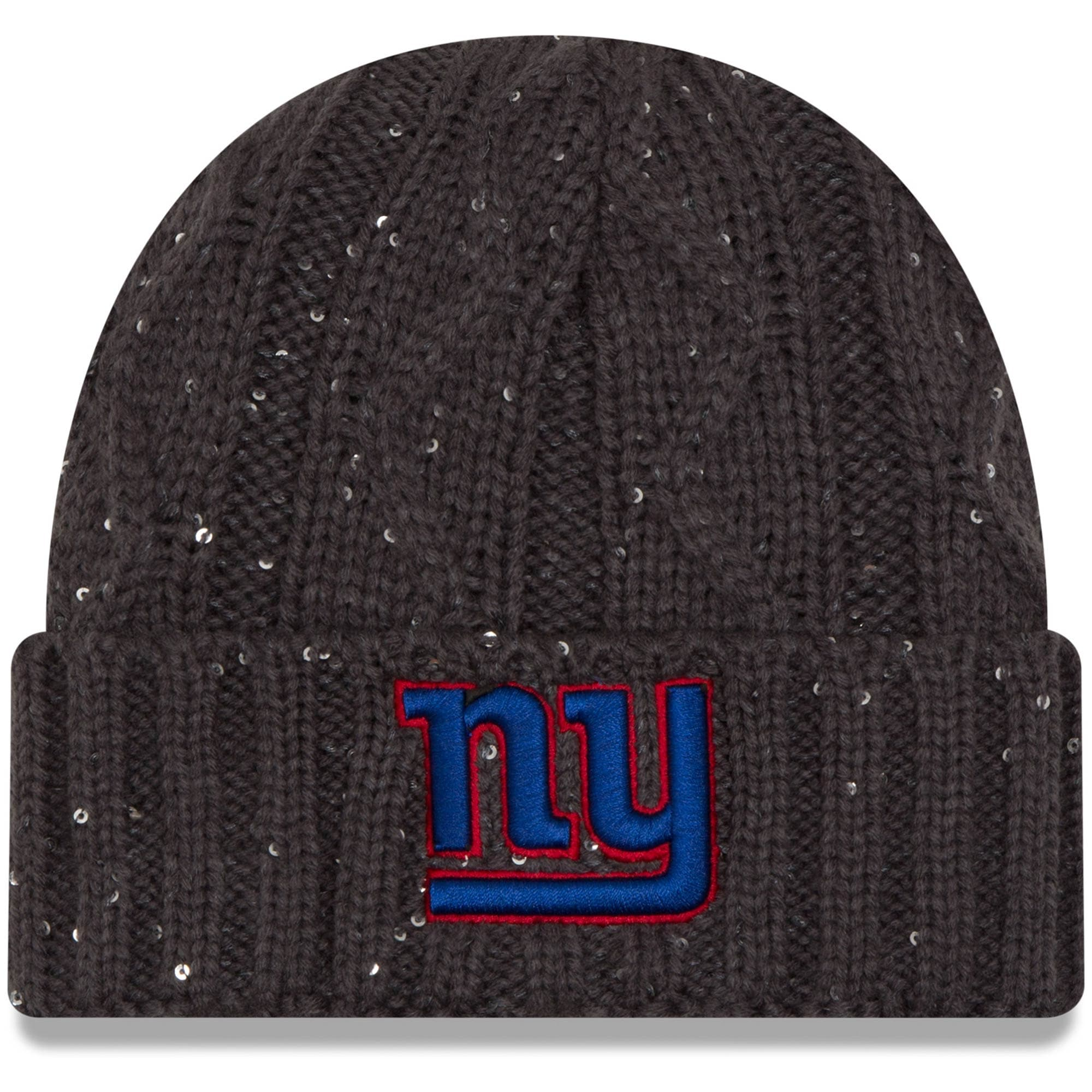 New York Giants New Era Women's Cable Frosted Cuffed Knit Hat - Graphite