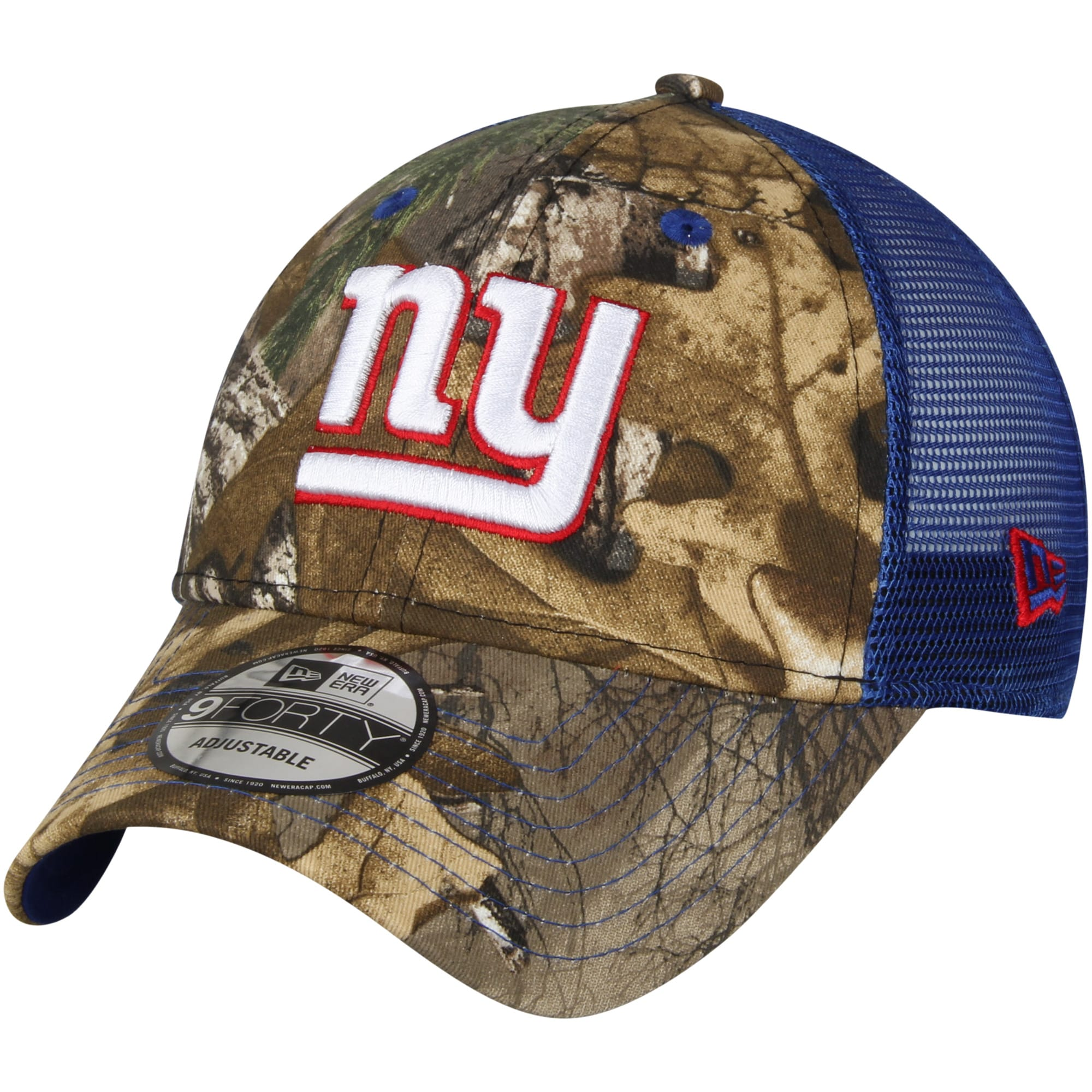 New York Giants New Era Trucker 9FORTY Adjustable Snapback Hat - Realtree Camo/Royal