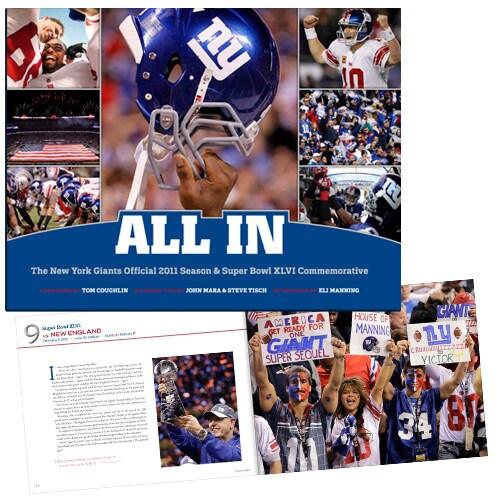 "New York Giants NFL Super Bowl XLVI Champions ""ALL IN"" Book"