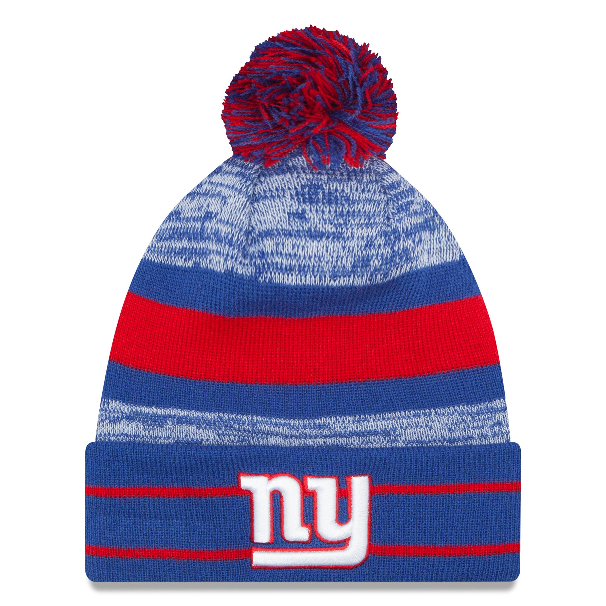 New York Giants New Era Team Logo Cuffed Knit Hat with Pom - Royal