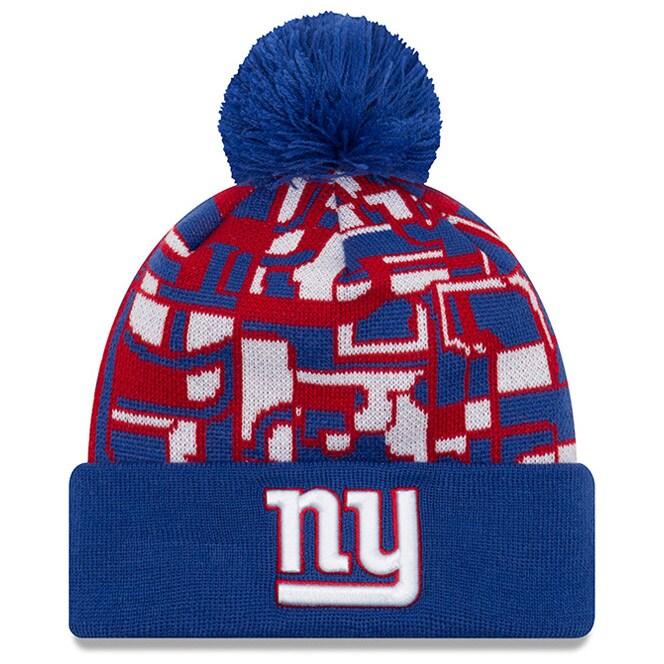 New York Giants New Era NFLxFIT Cuffed Knit Hat with Pom - Royal