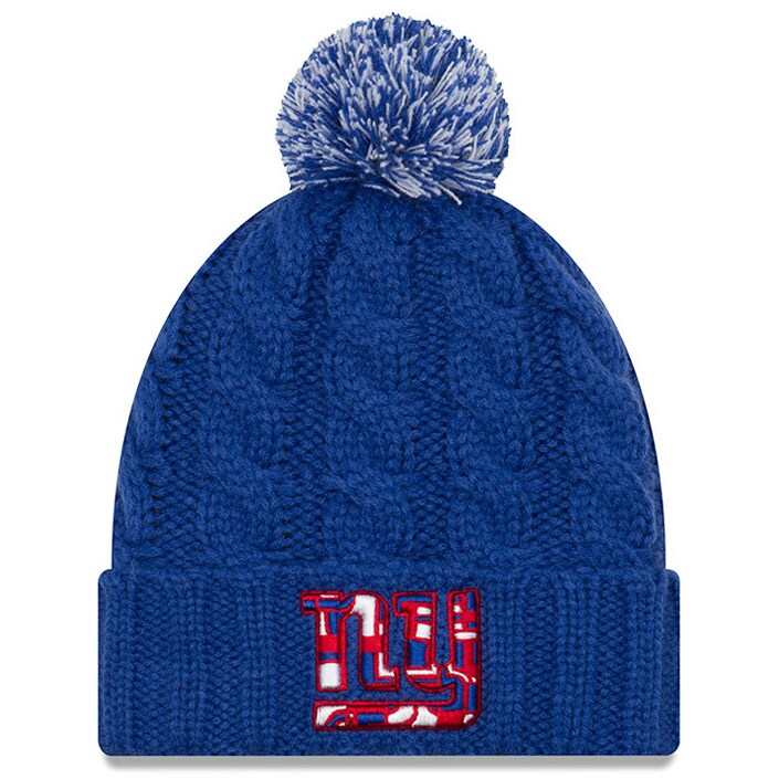 New York Giants New Era Women's NFLxFIT Cuffed Knit Hat with Pom - Royal