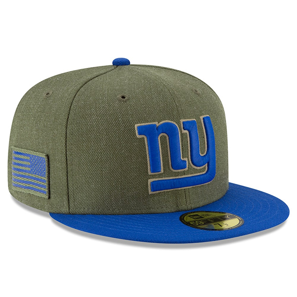 New York Giants New Era 2018 Salute to Service Sideline 59FIFTY Fitted Hat - Olive/Royal