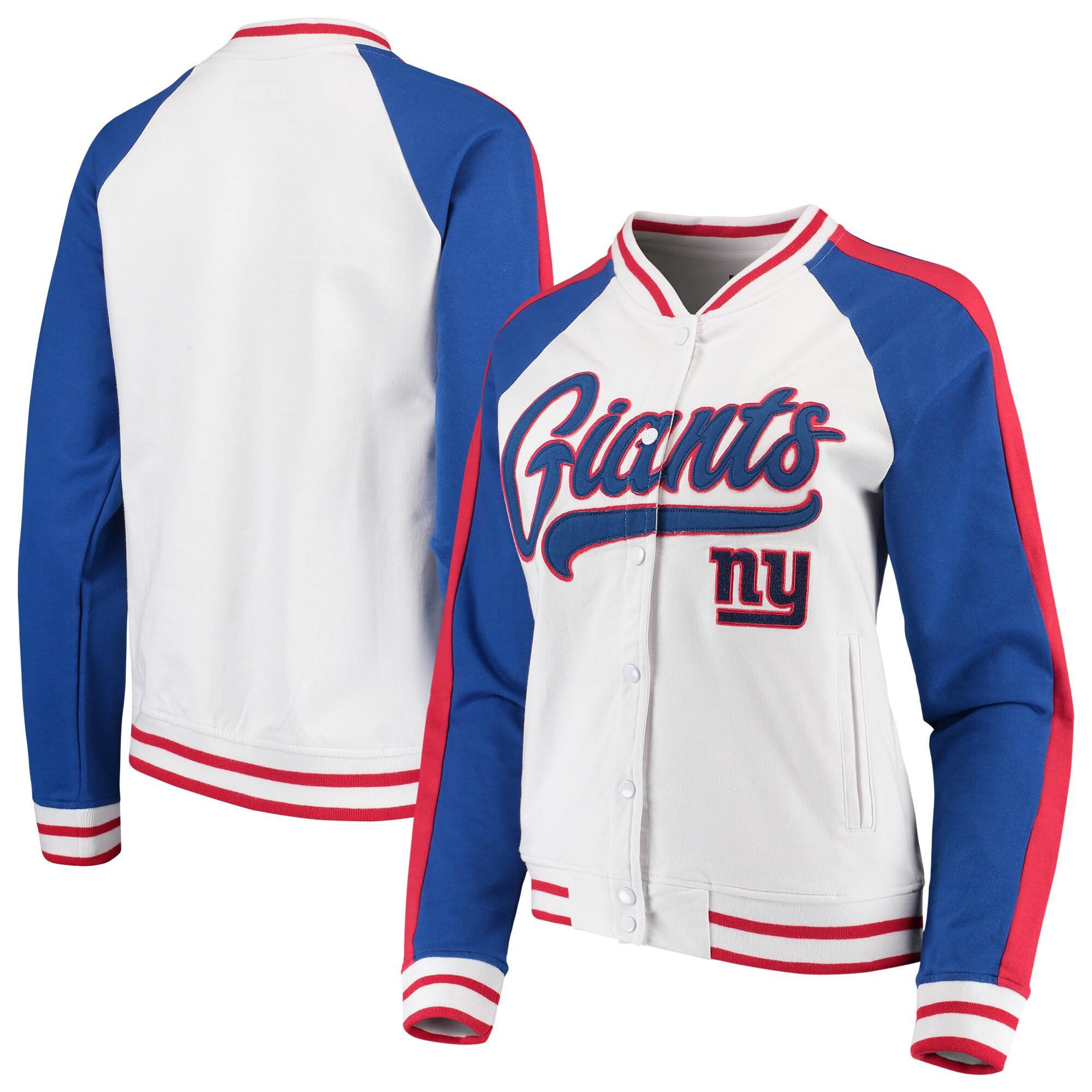 New York Giants New Era Women's Varsity Full Snap Jacket - White/Royal