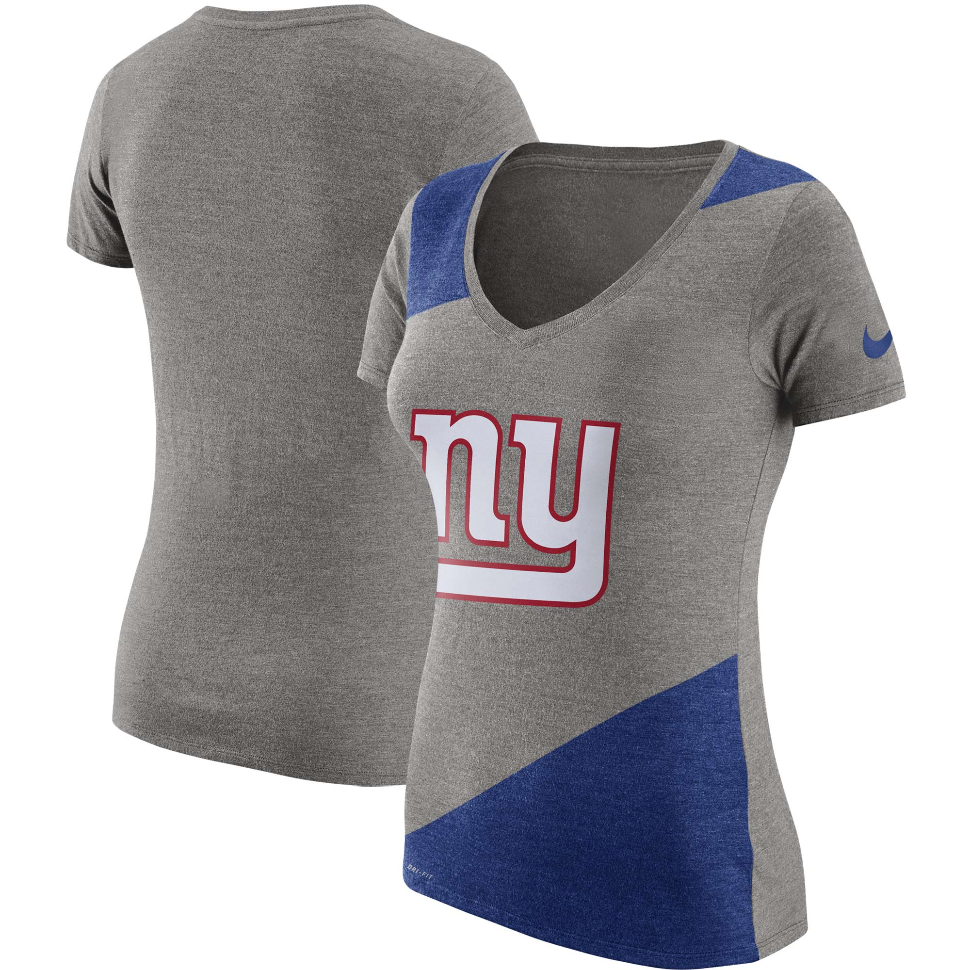 New York Giants Nike Women's Performance V-Neck T-Shirt - Heathered Gray