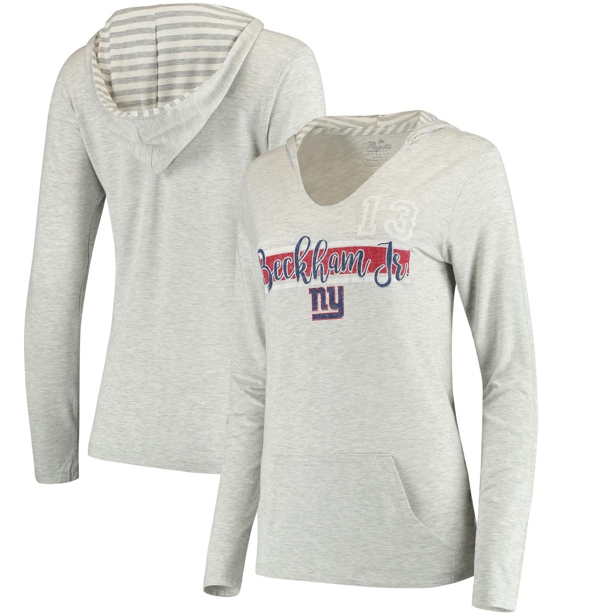 Odell Beckham Jr New York Giants Women's Pocket Name & Number Hoodie T-Shirt - Gray