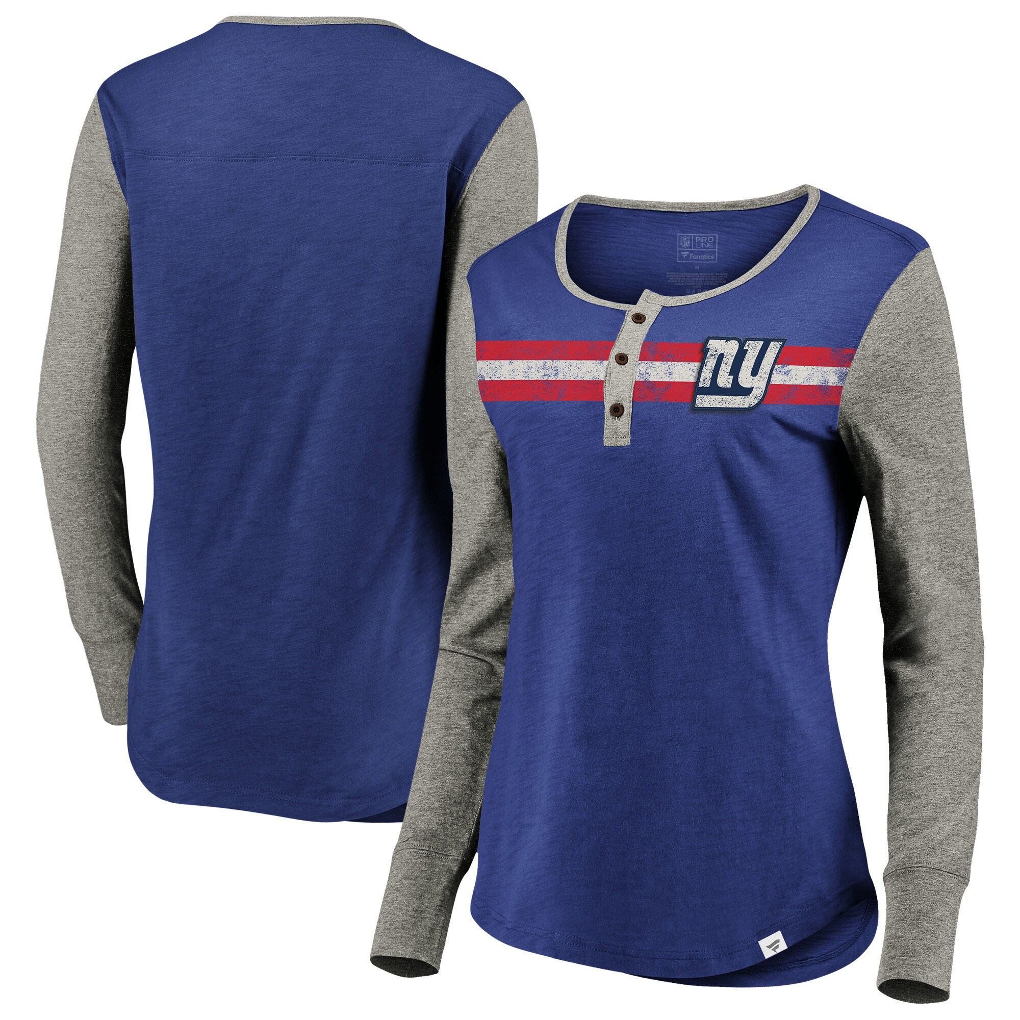 New York Giants NFL Pro Line by Fanatics Branded Women's Plus Size Long Sleeve Henley T-Shirt - Royal/Heathered Gray