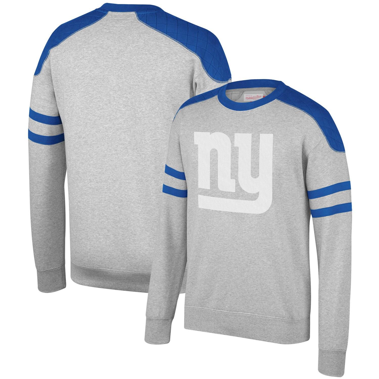 New York Giants Mitchell & Ness Post Season Run Crew Sweatshirt - Heathered Gray