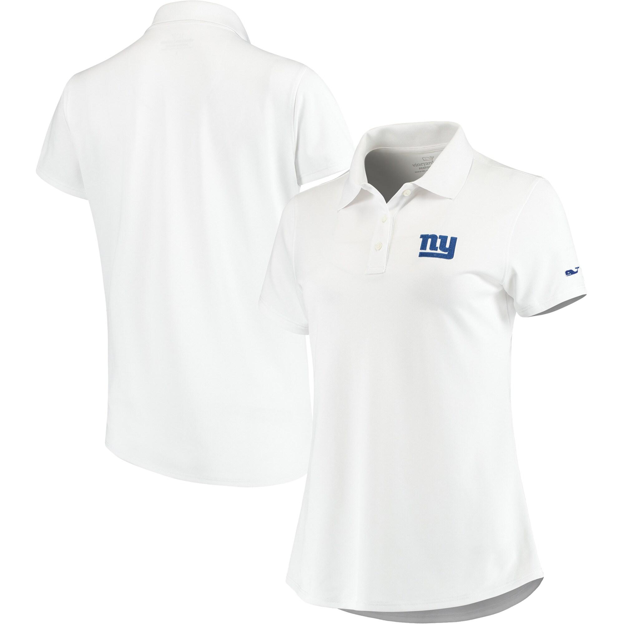 New York Giants Vineyard Vines Women's Pique Sport Performance Polo - White