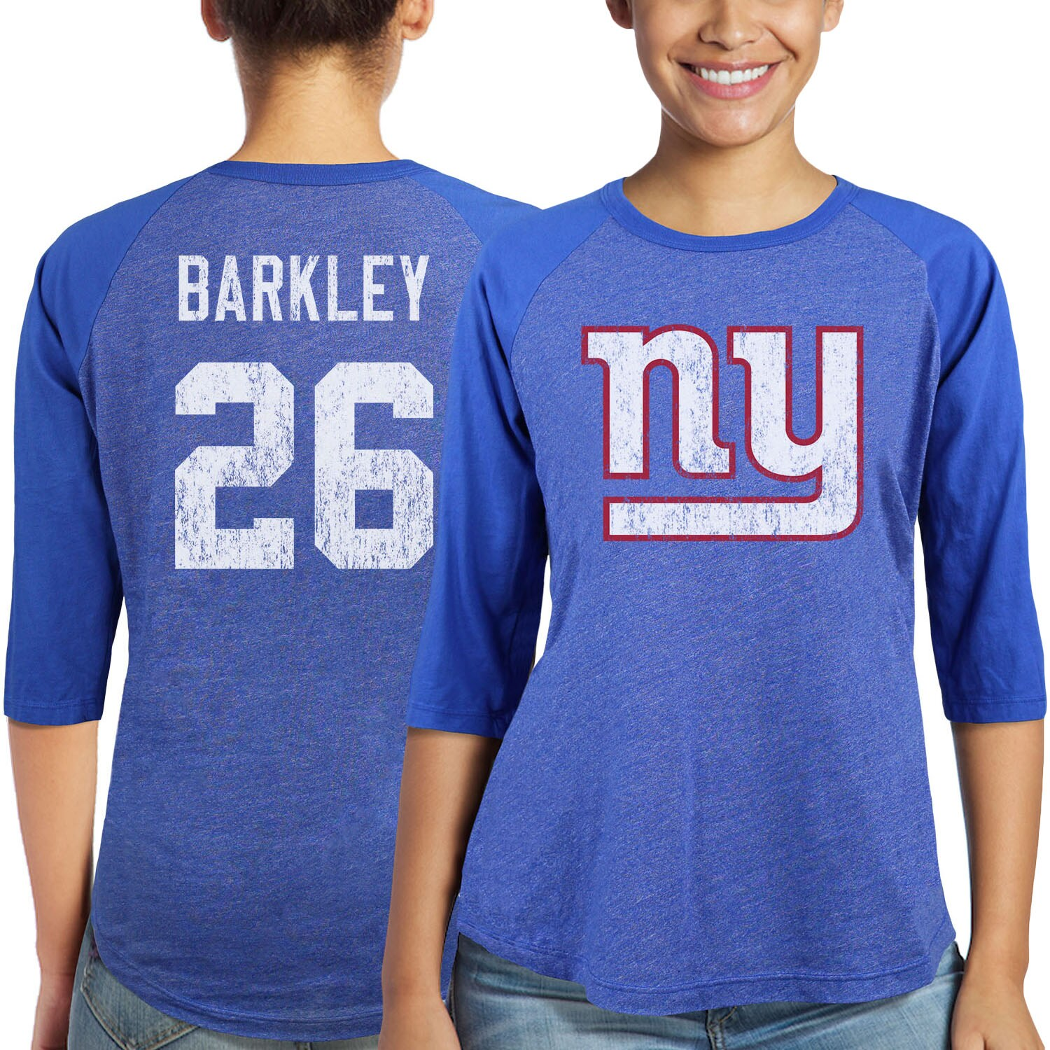 Saquon Barkley New York Giants Majestic Women's Player Name & Number Tri-Blend 3/4-Sleeve Raglan T-Shirt - Royal