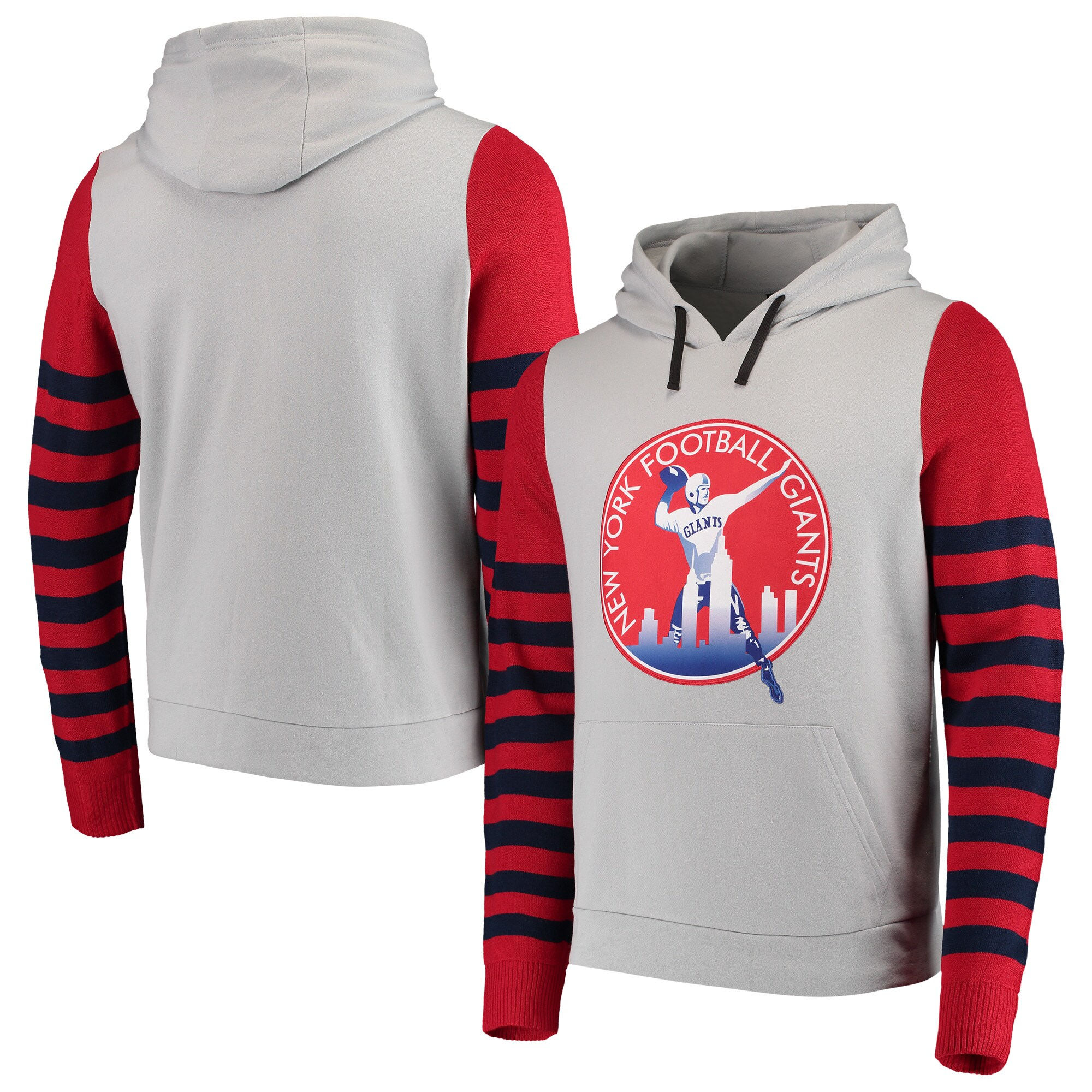 New York Giants Retro Stripe Fleece Pullover Hoodie - Gray