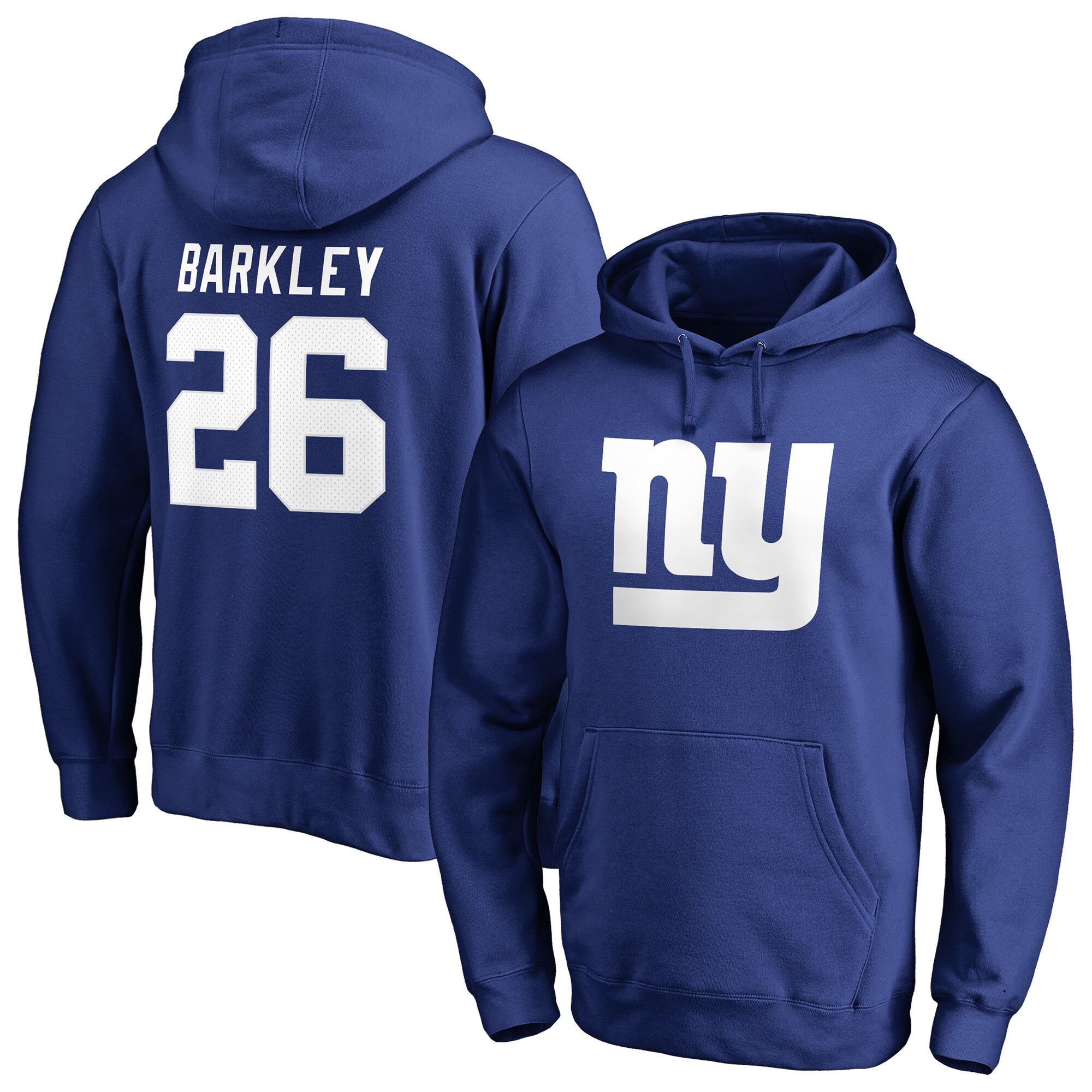 Saquon Barkley New York Giants NFL Pro Line by Fanatics Branded Team Logo Player Icon Name & Number Pullover Hoodie - Royal