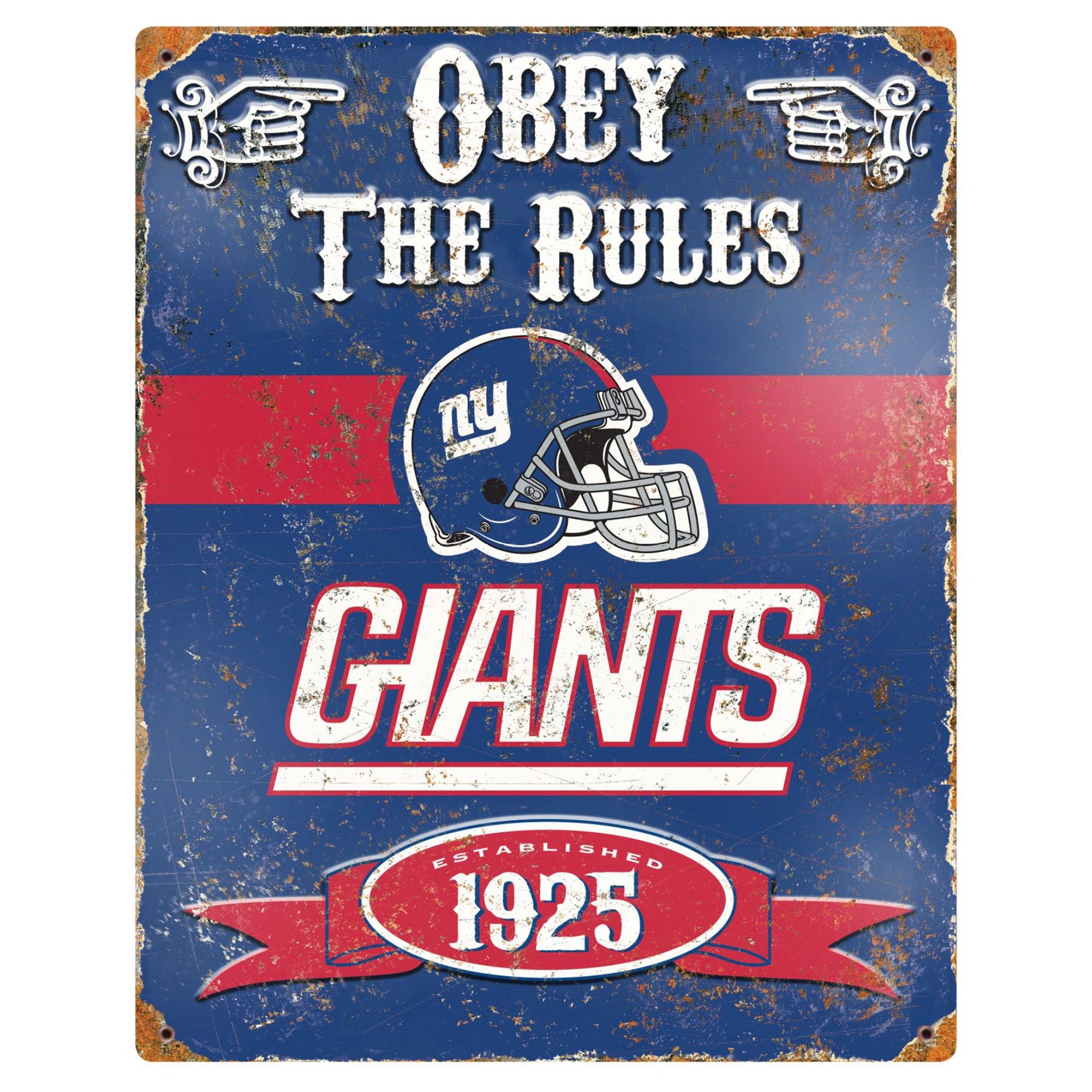 New York Giants 14.5'' x 11.5'' Embossed Metal Sign