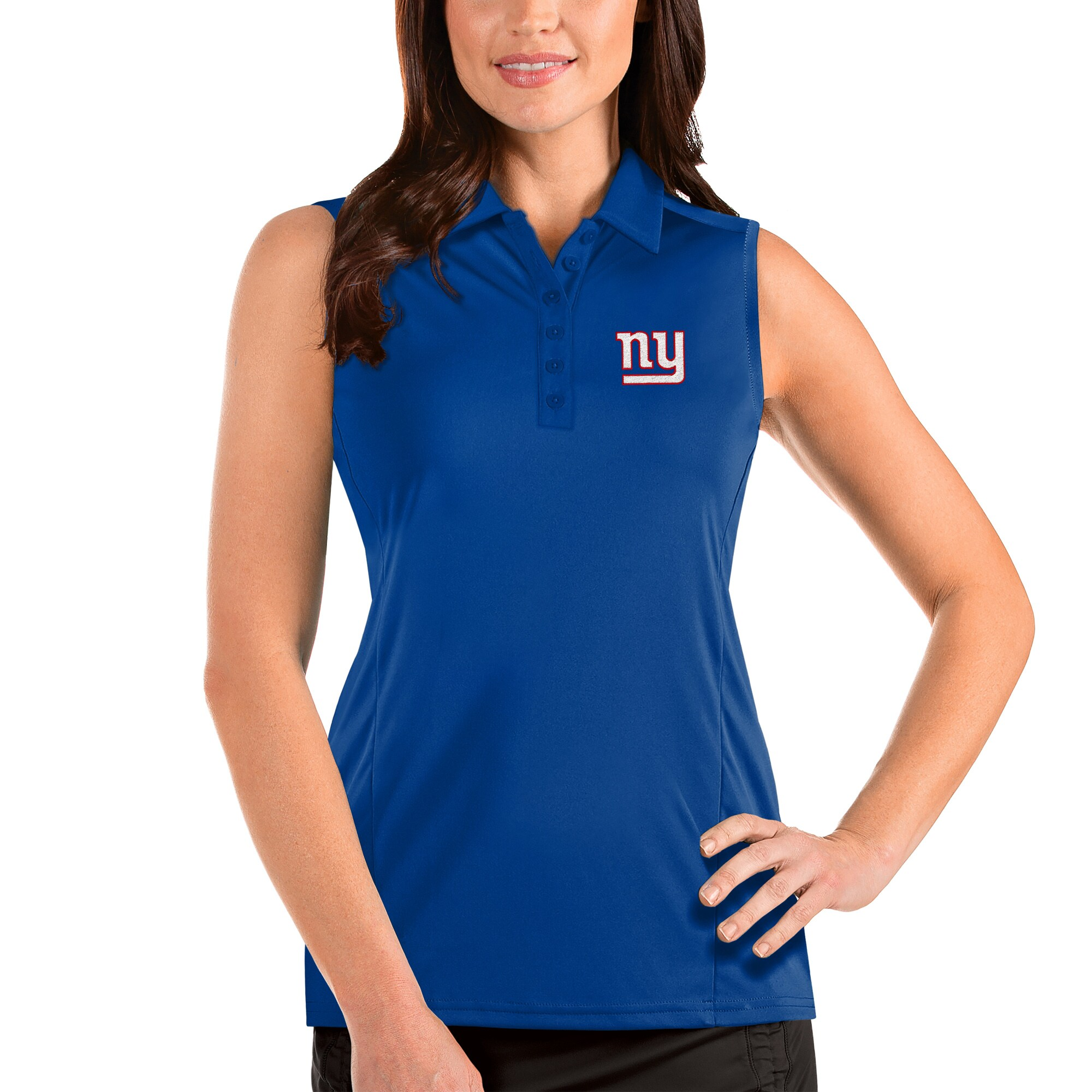 New York Giants Antigua Women's Sleeveless Tribute Polo - Royal