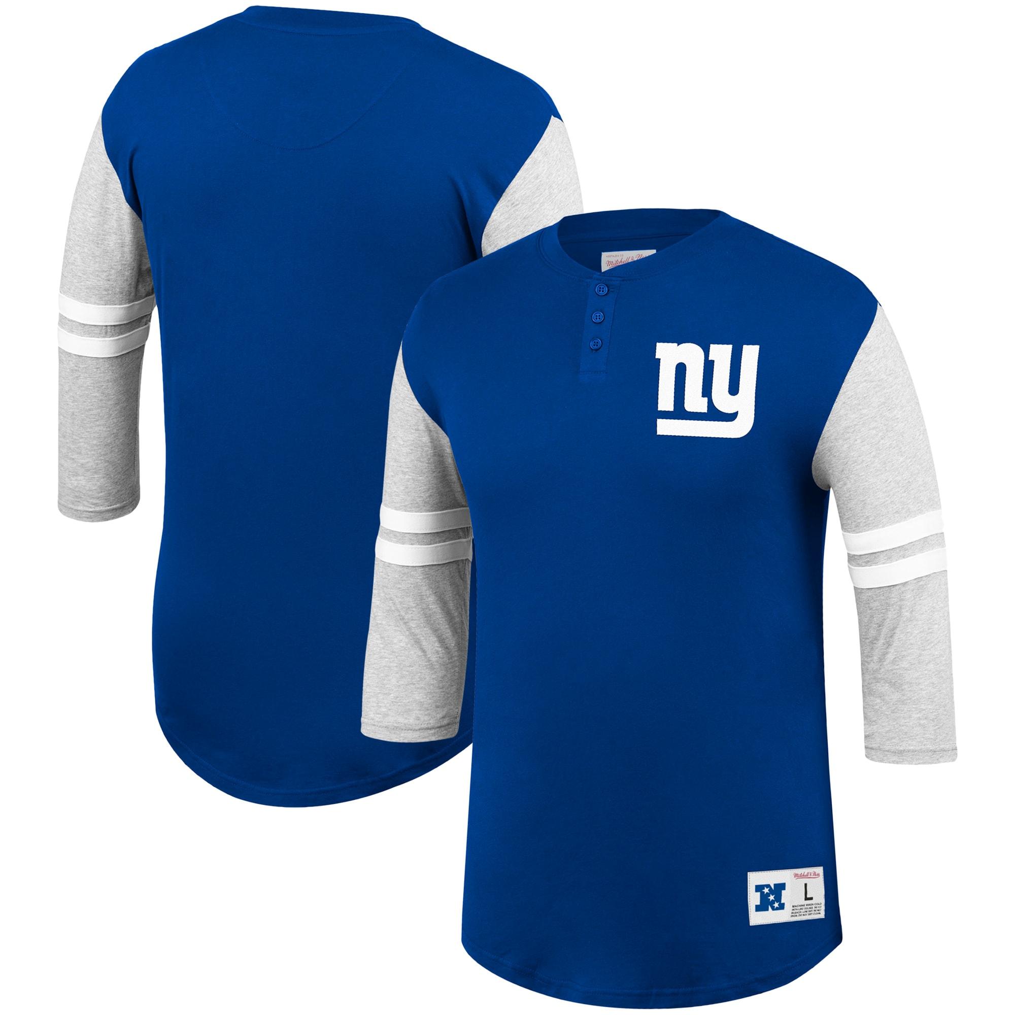 New York Giants Mitchell & Ness Team Logo 3/4-Sleeve Henley T-Shirt - Royal