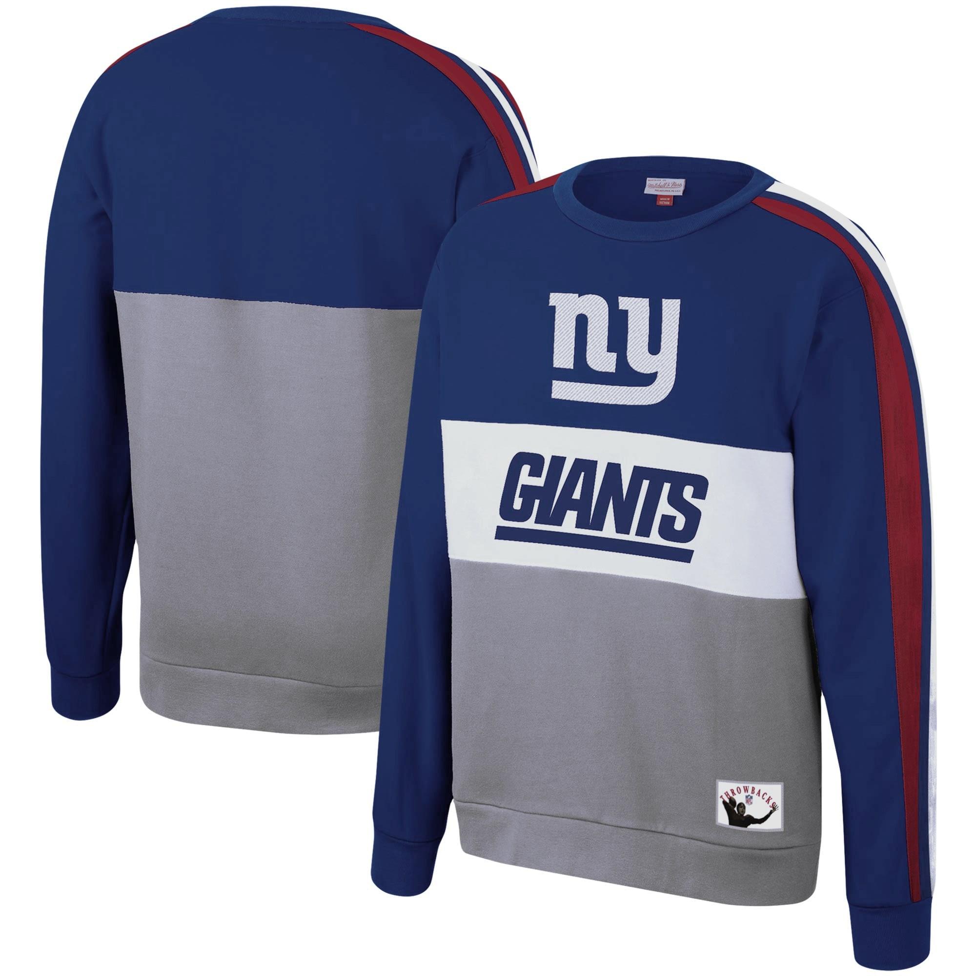 New York Giants Mitchell & Ness Leading Scorer Fleece Crew Sweatshirt - Royal