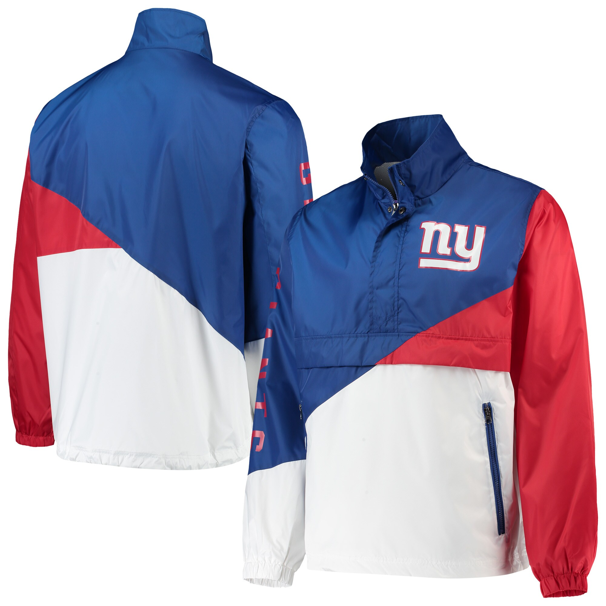 New York Giants G-III Sports by Carl Banks Double Team Half-Zip Pullover Jacket - Royal/White