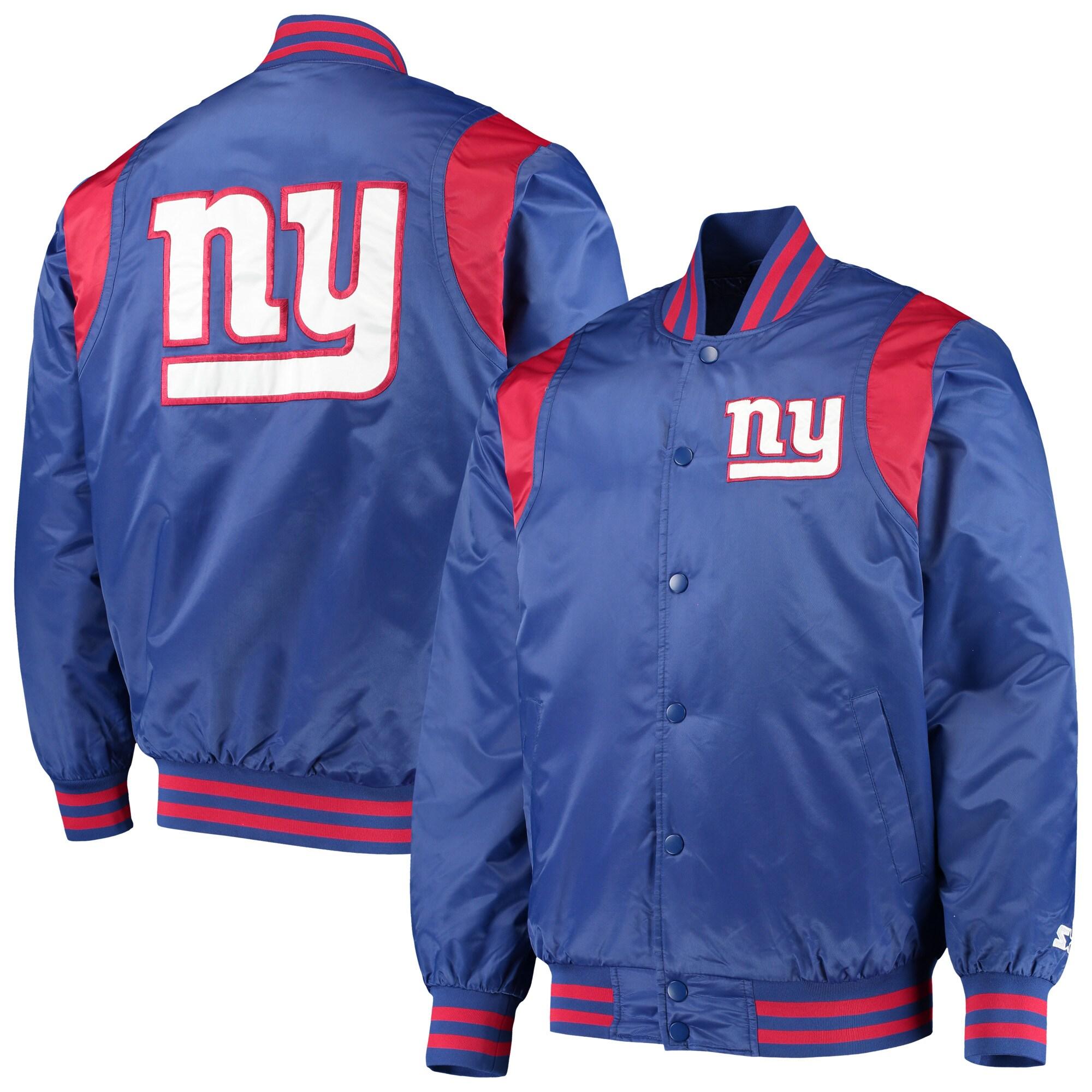 New York Giants Starter Prime Time Twill Satin Varsity Full-Snap Jacket - Royal/Red