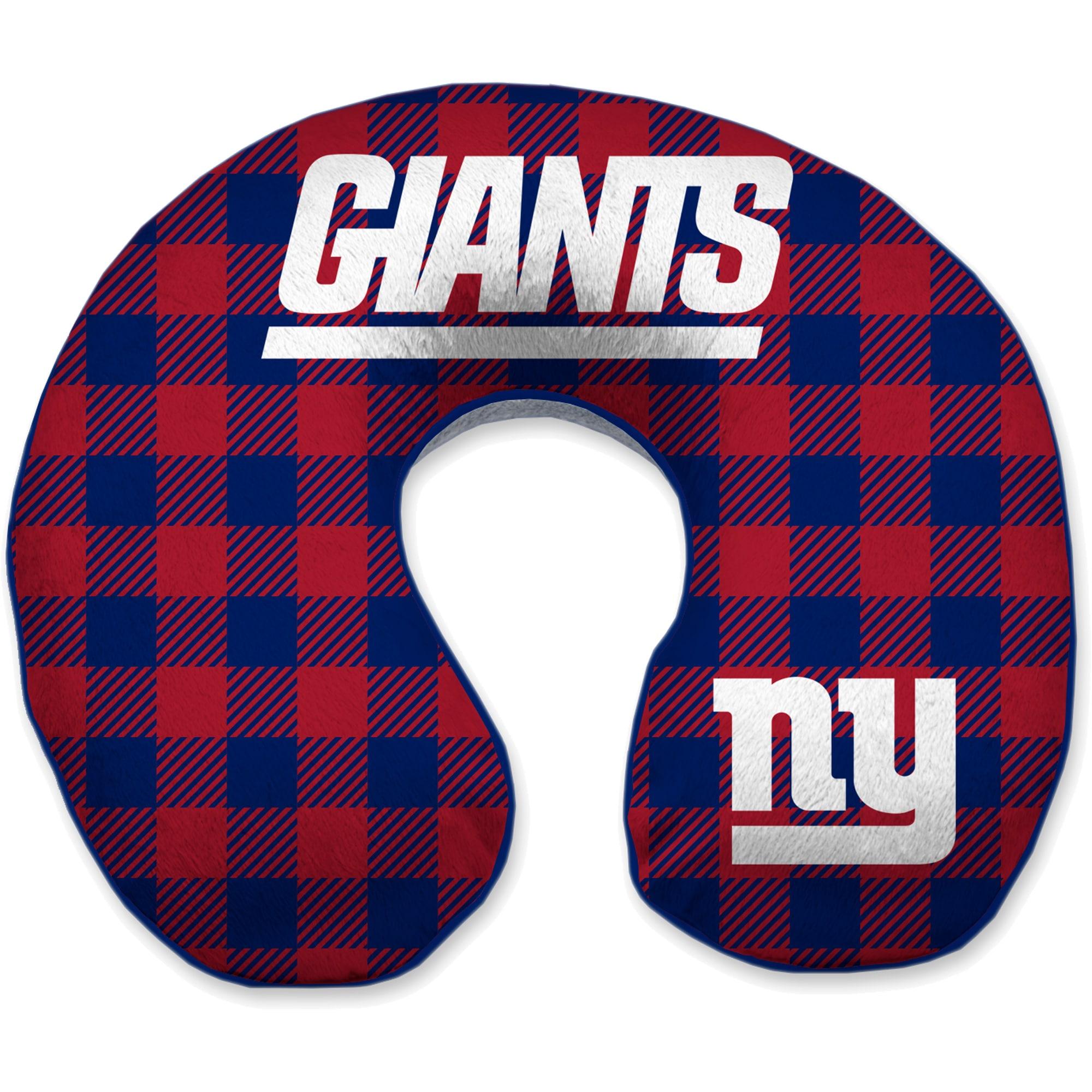 New York Giants Buffalo Check Sherpa Memory Foam Travel Pillow - Blue