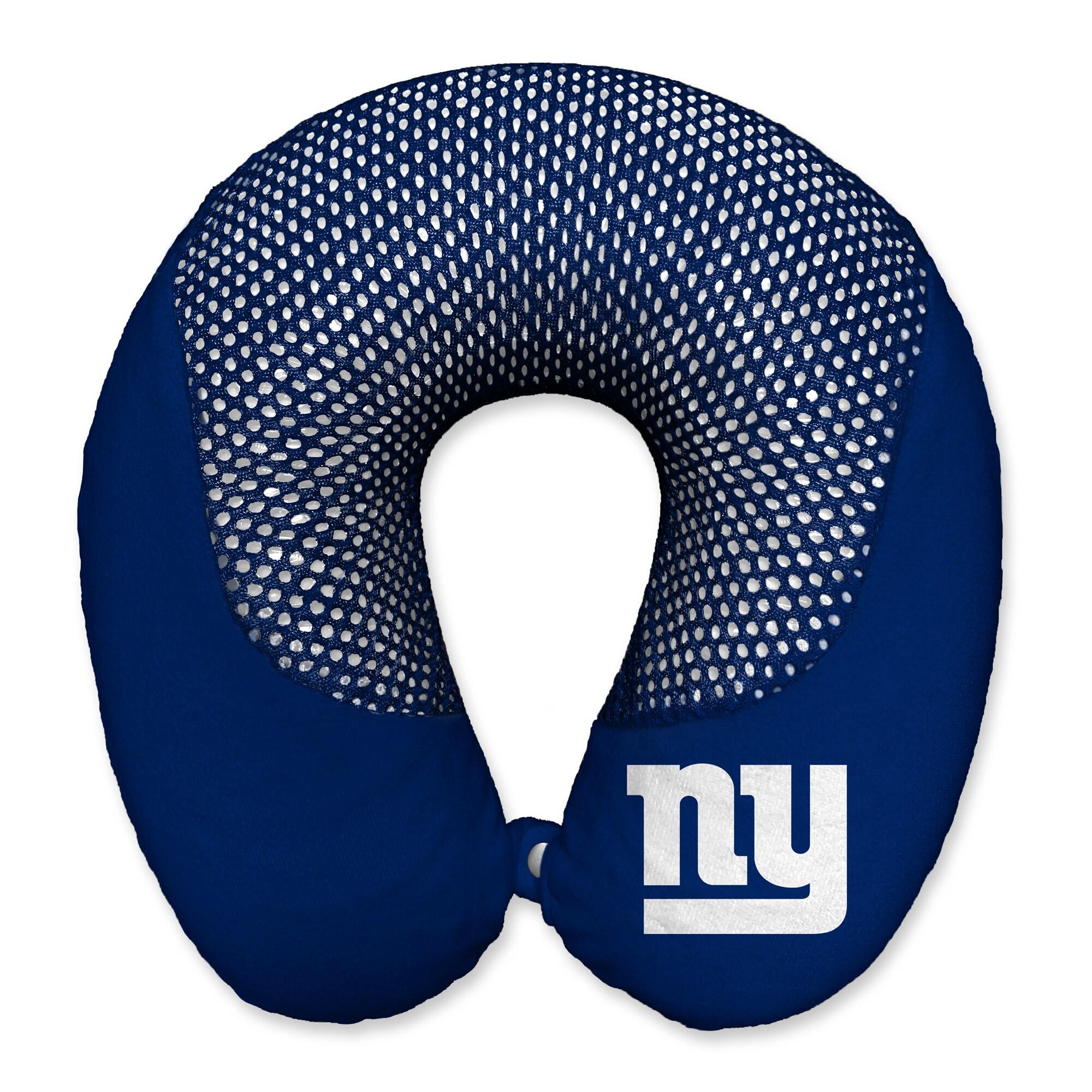 New York Giants Cooling Gel Plush Memory Foam Travel Pillow - Blue