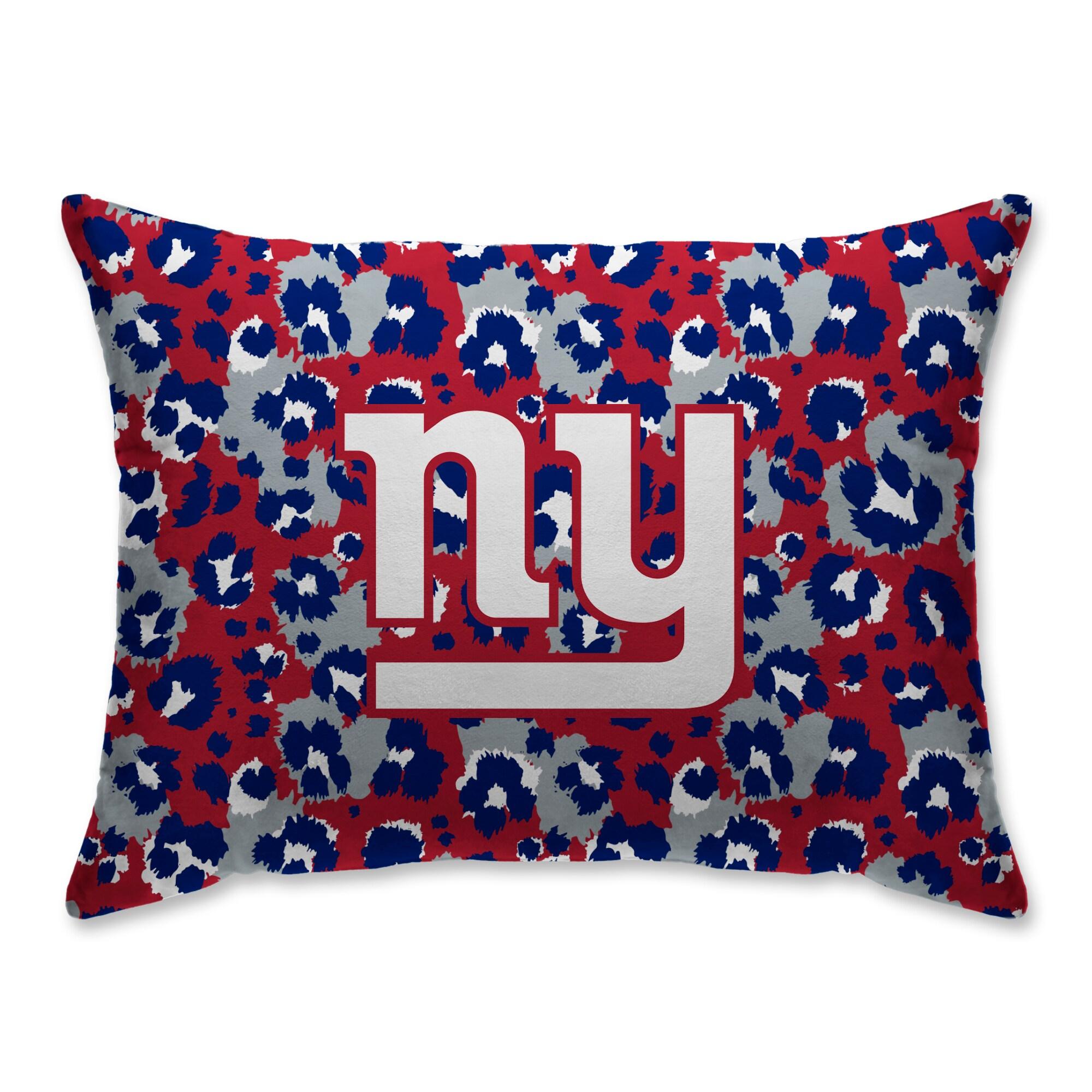 New York Giants Leopard Plush Bed Pillow - Blue