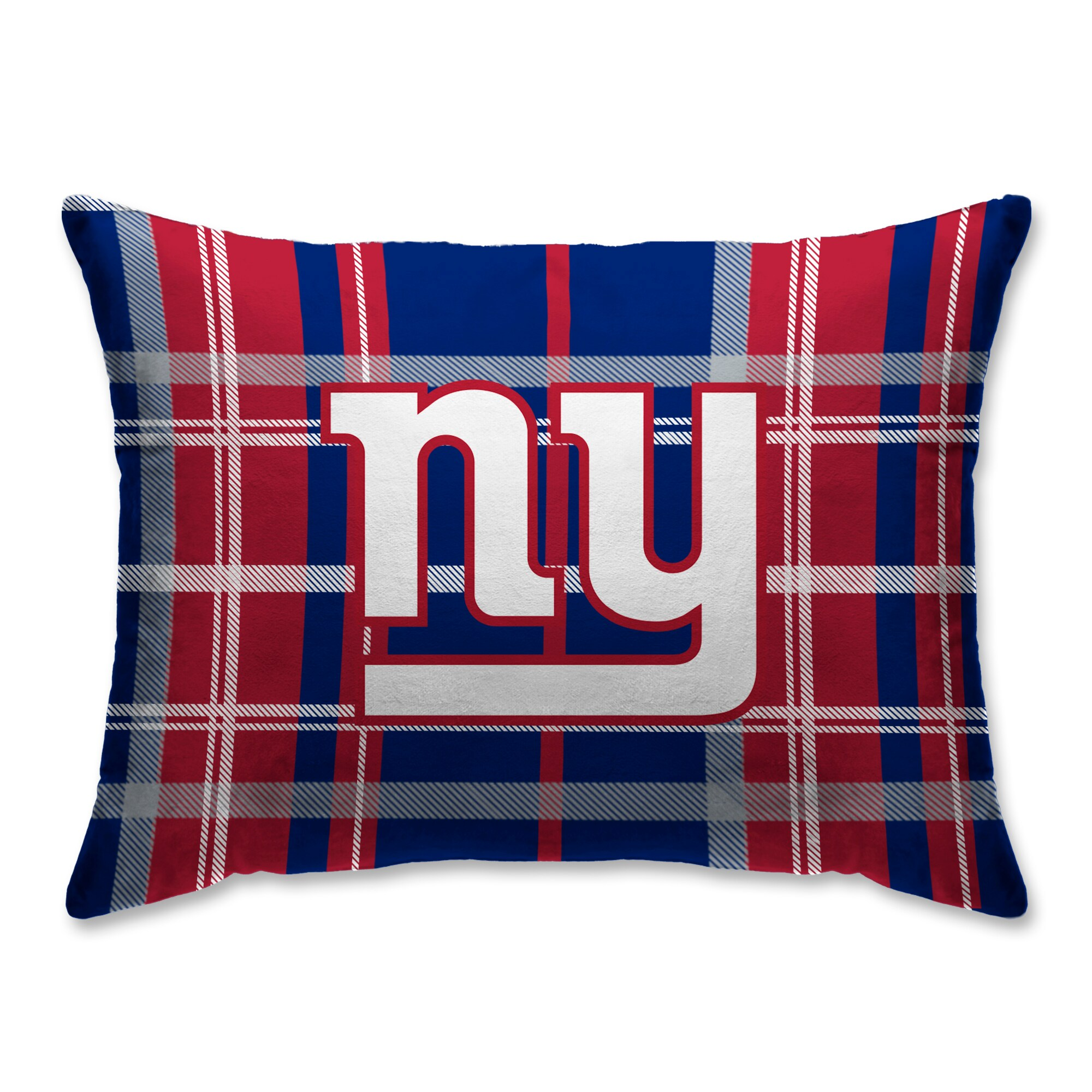 New York Giants Plaid Plush Sherpa Bed Pillow - Blue