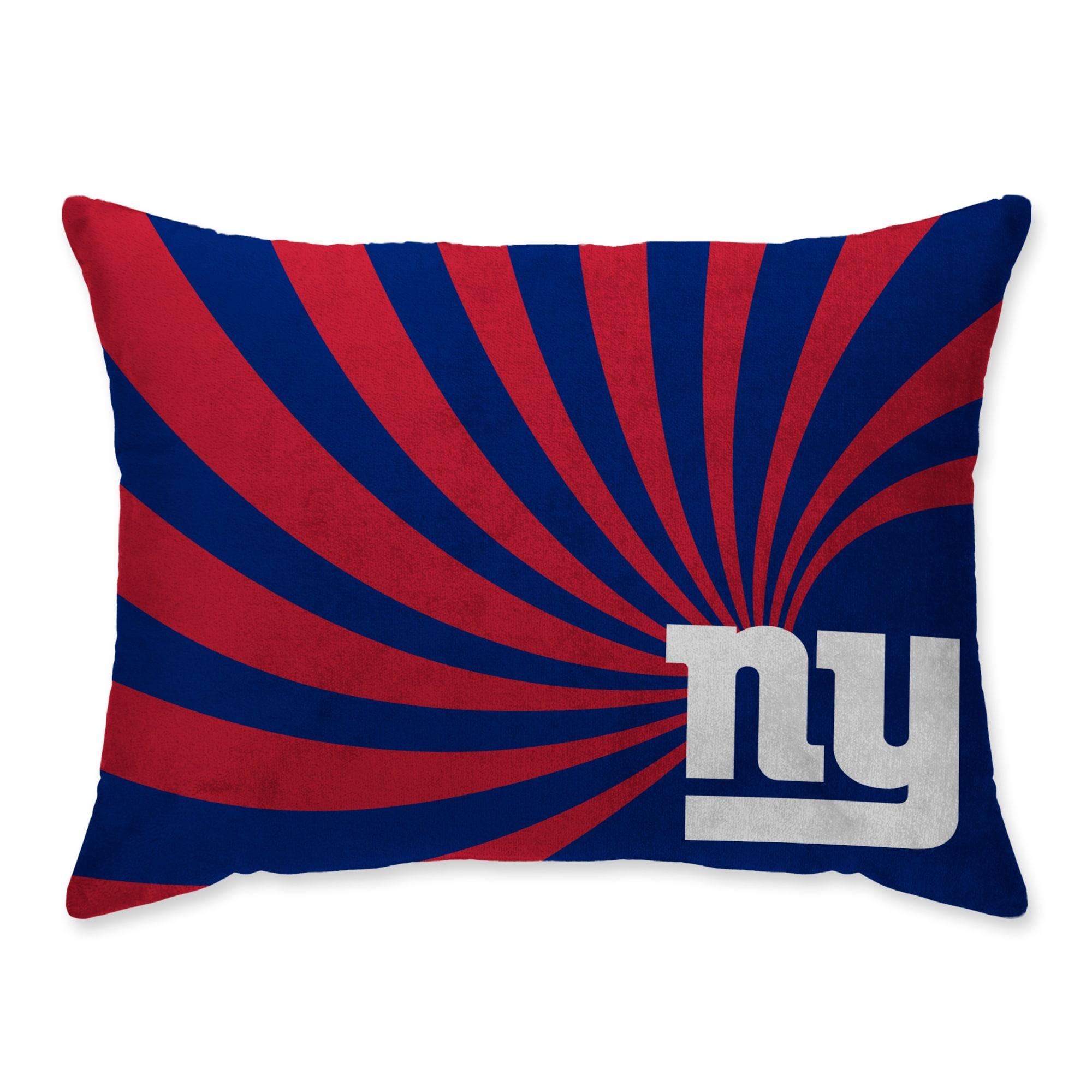 New York Giants Super Plush Mink Wave Bed Pillow - Blue