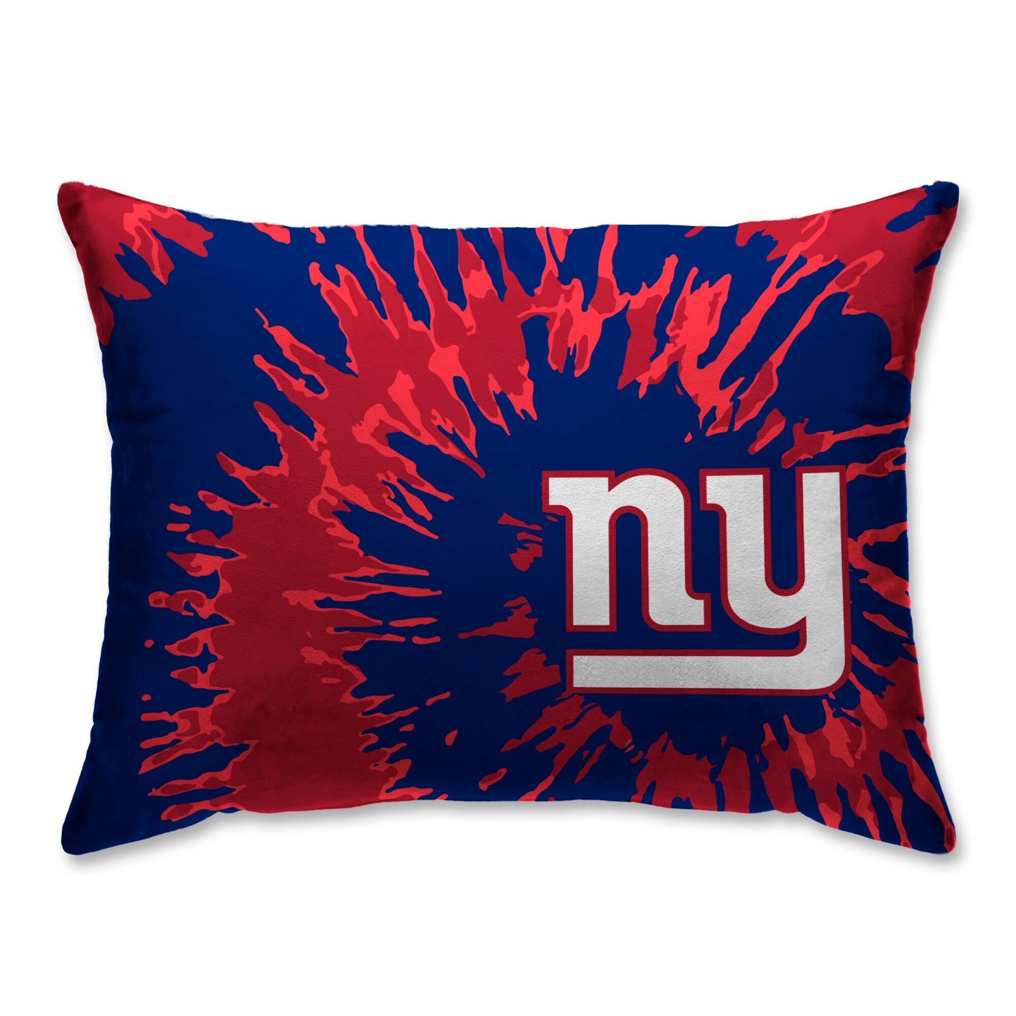 New York Giants Tie Dye Plush Bed Pillow - Blue