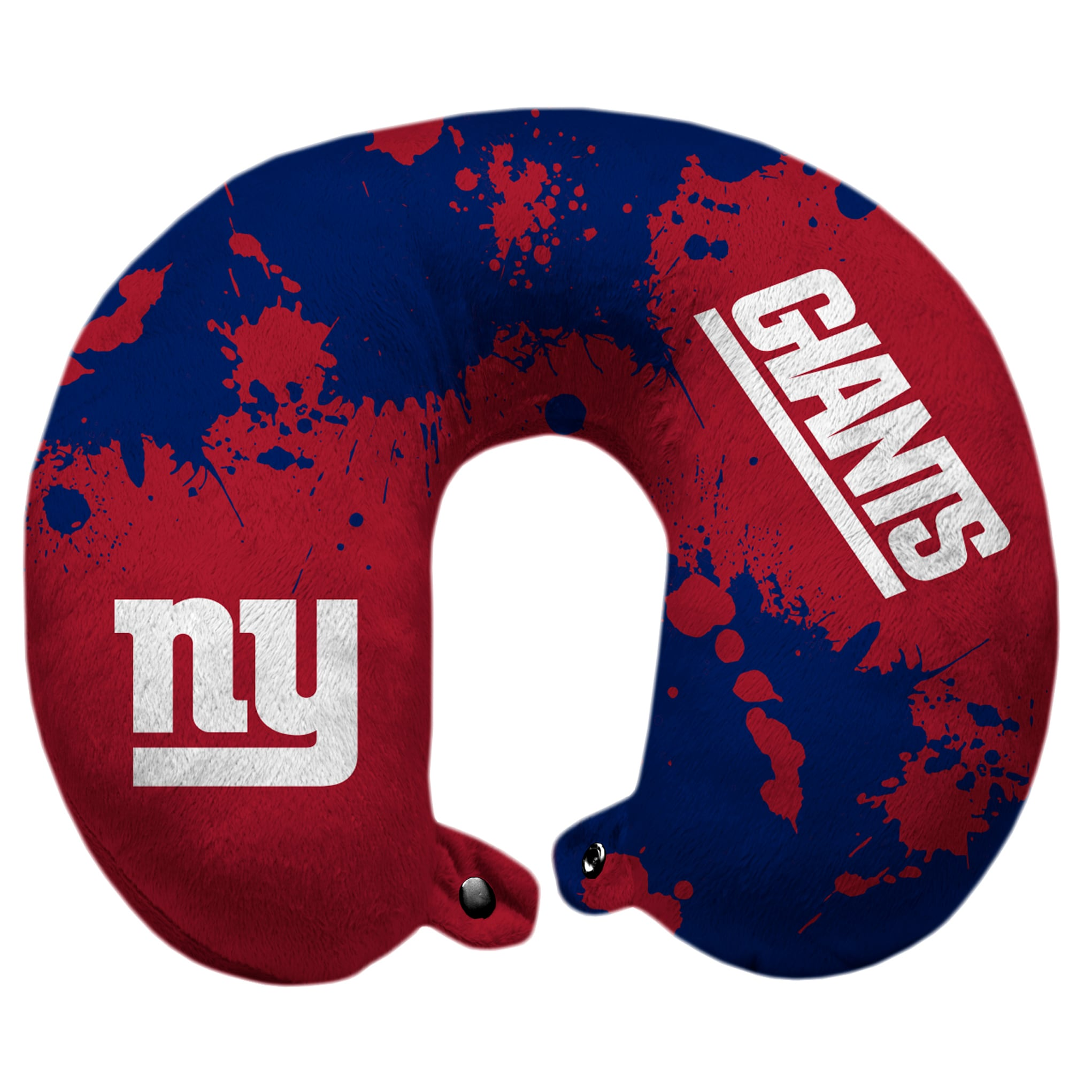 New York Giants Splatter Polyester Snap Closure Travel Pillow - Blue