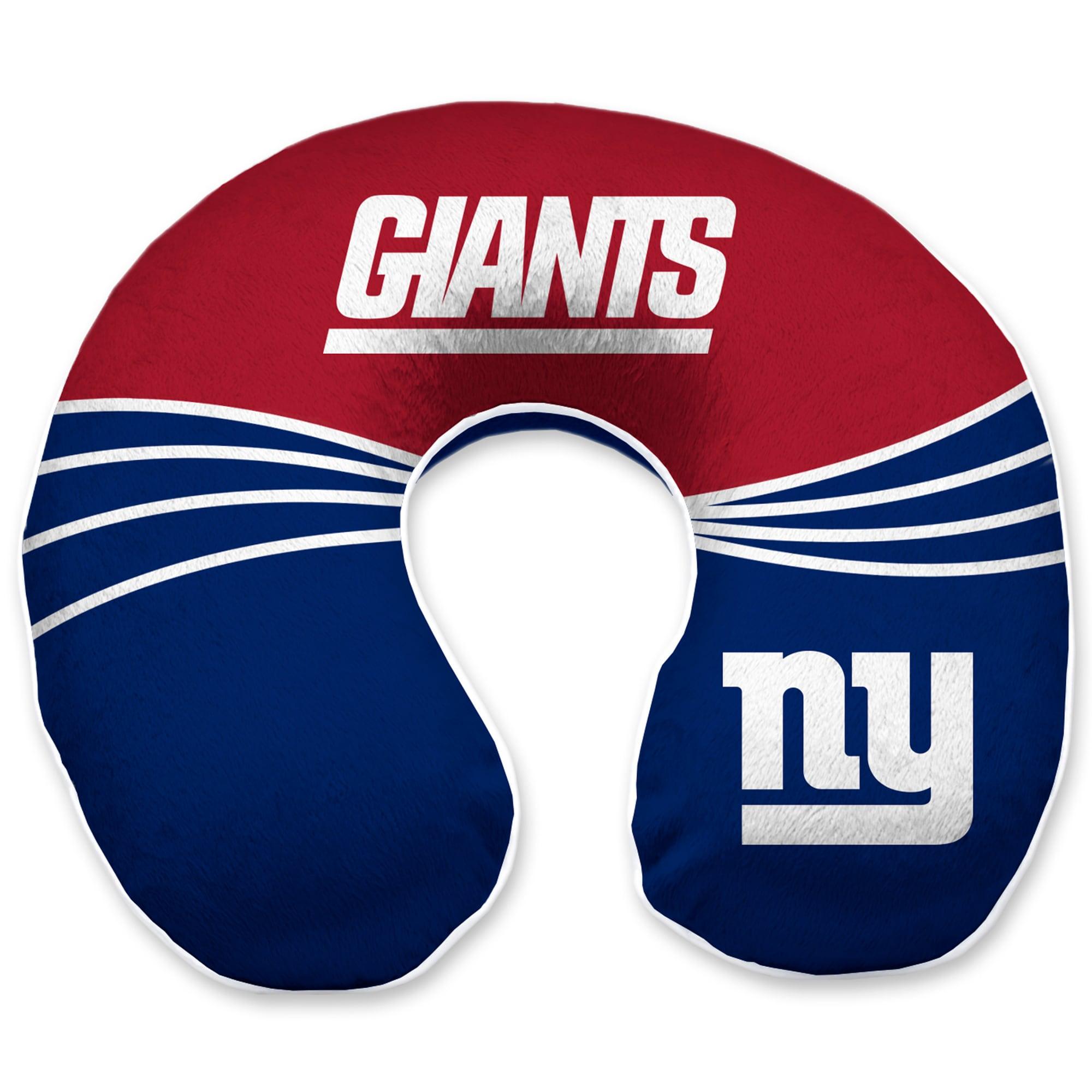 New York Giants Wave Memory Foam U-Neck Travel Pillow - Blue
