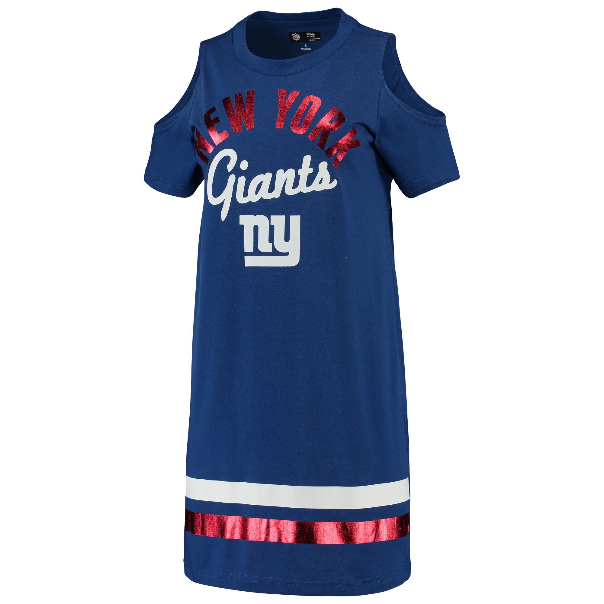 New York Giants G-III 4Her by Carl Banks Women's Go Get Em Tri-Blend Cold Shoulder Mini-Dress - Royal