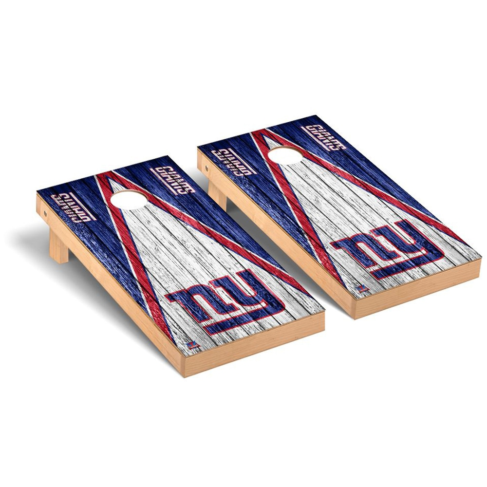 New York Giants 2' x 4' Triangle Weathered Regulation Cornhole Board Tailgate Toss Set