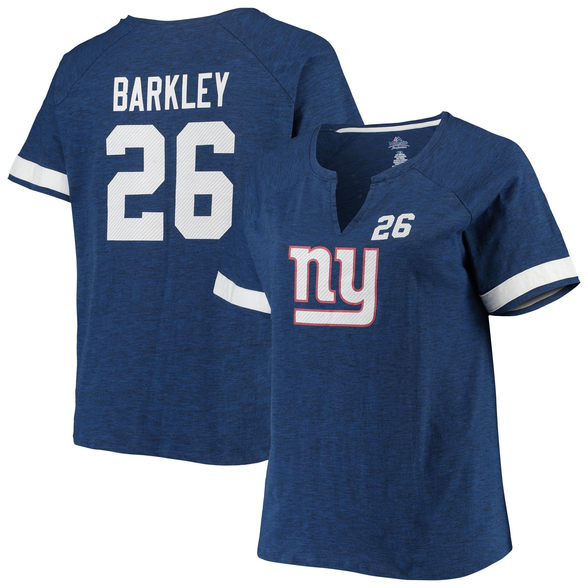 Saquon Barkley New York Giants Majestic Women's Plus Size Name & Number Notch Neck T-Shirt - Royal
