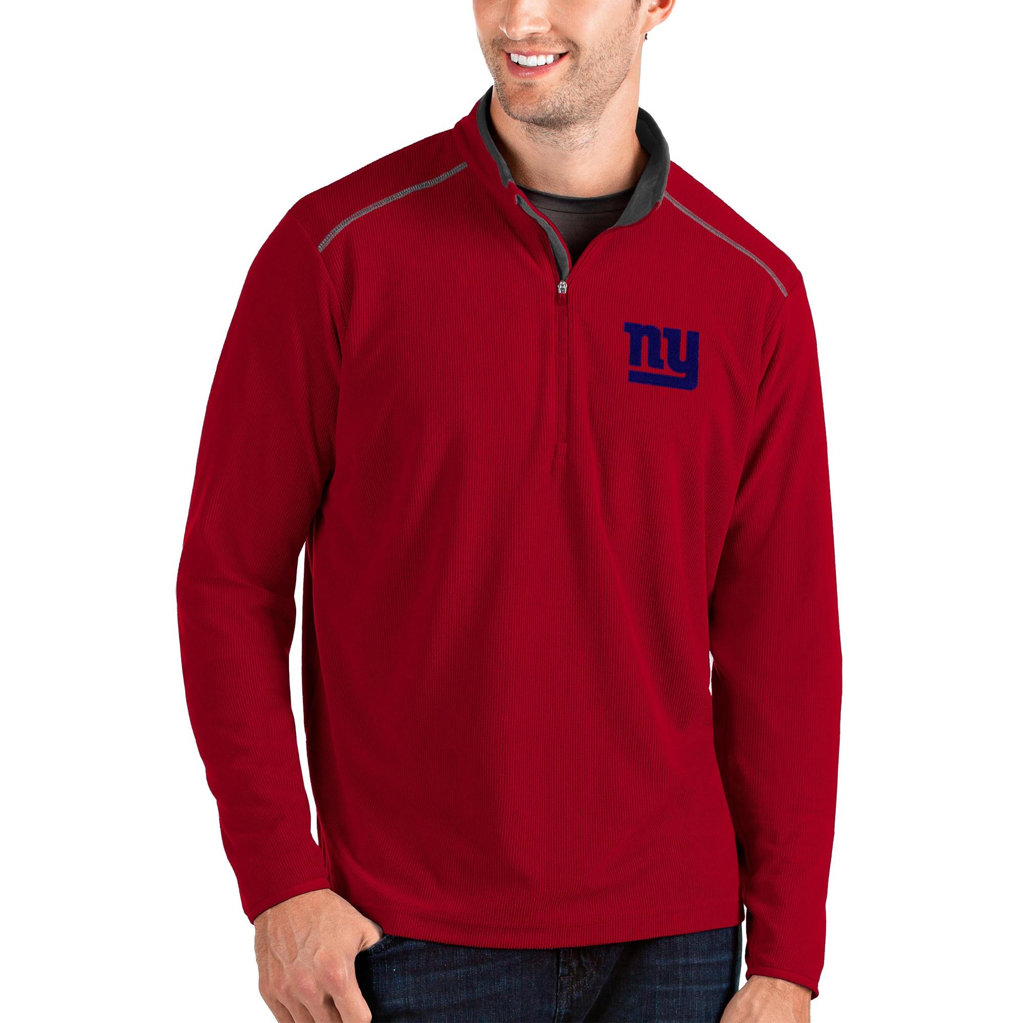 New York Giants Antigua Glacier Quarter-Zip Pullover Jacket - Red/Gray