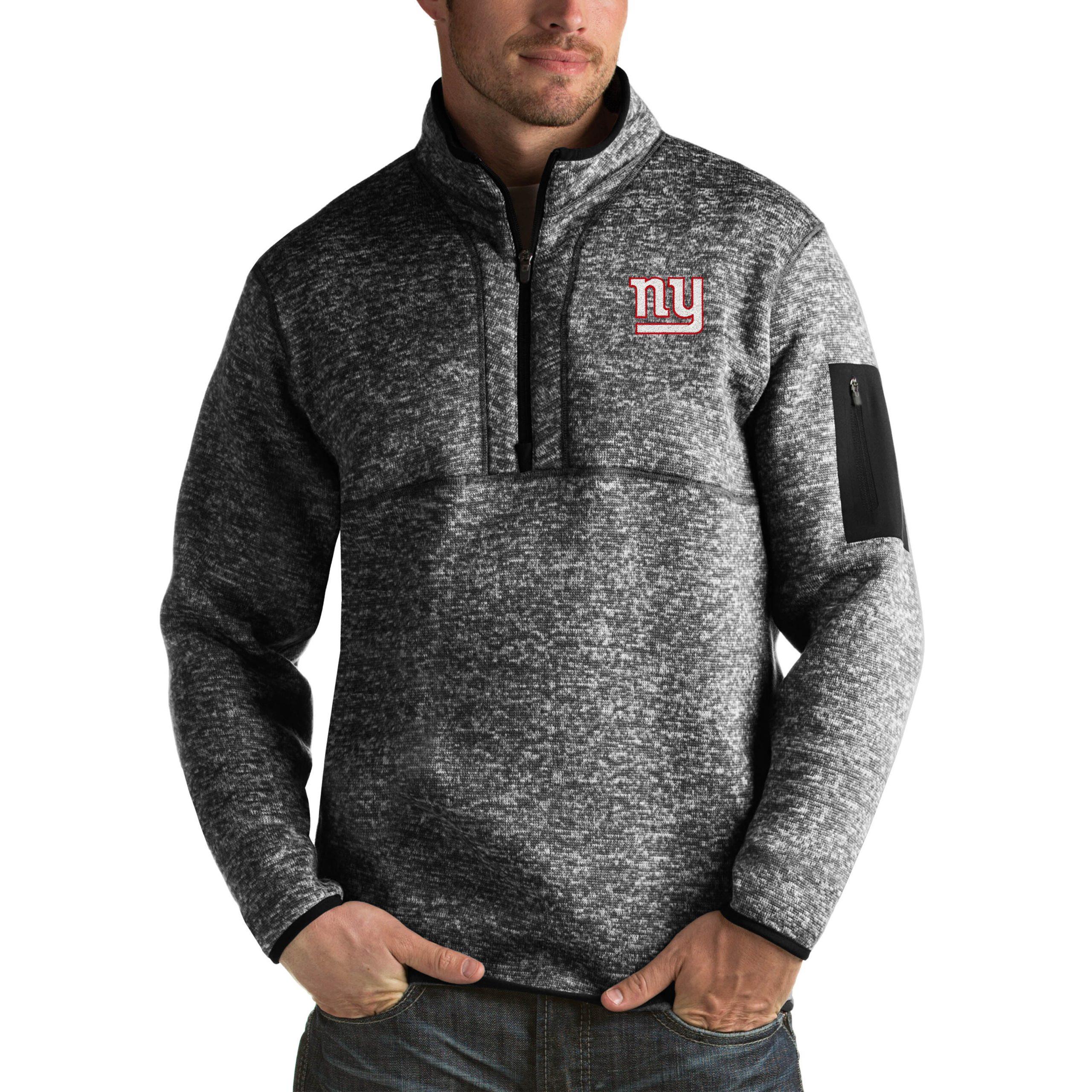 New York Giants Antigua Fortune Big & Tall Quarter-Zip Pullover Jacket - Heather Black