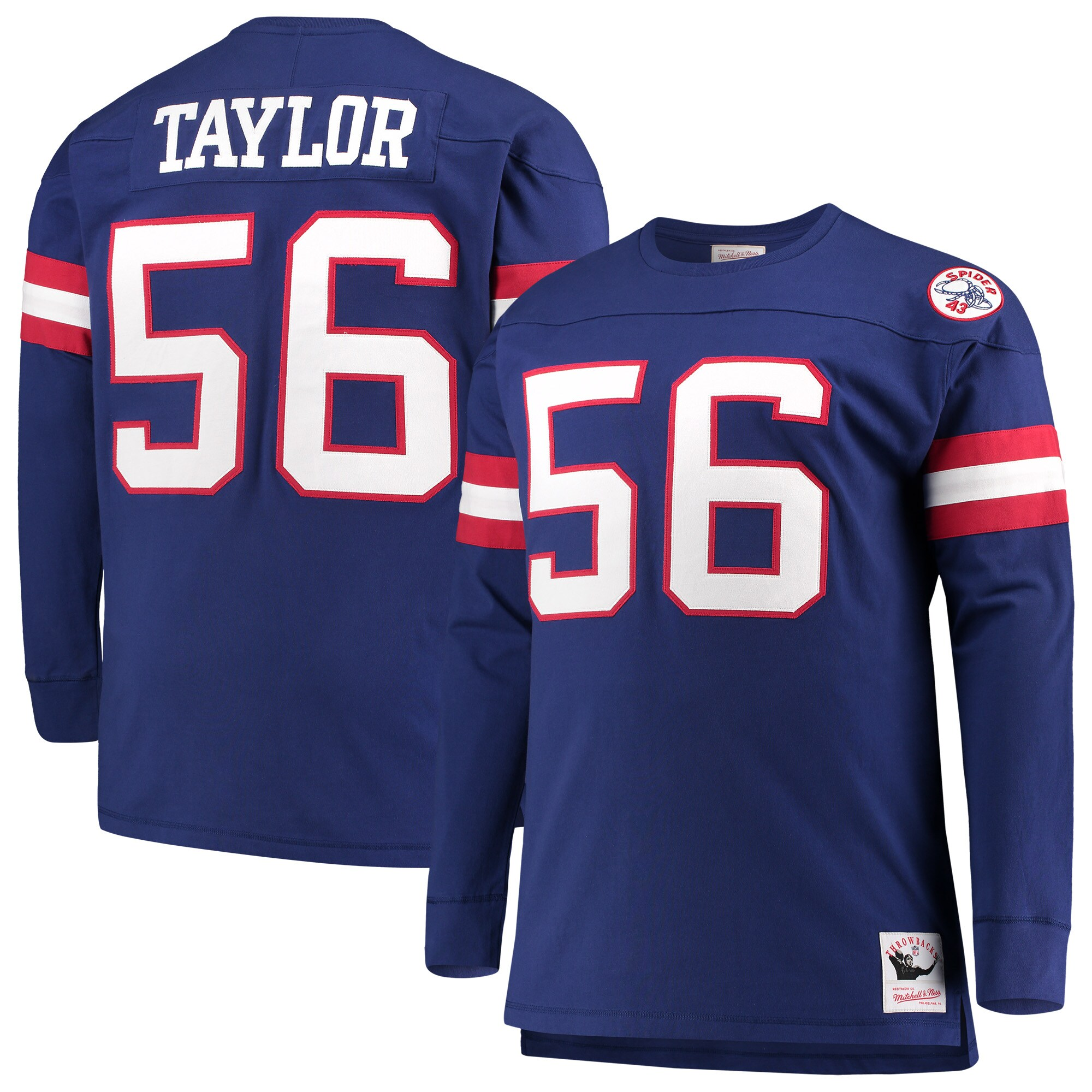 Lawrence Taylor New York Giants Mitchell & Ness Big & Tall Retired Player Name & Number Long Sleeve Top - Royal