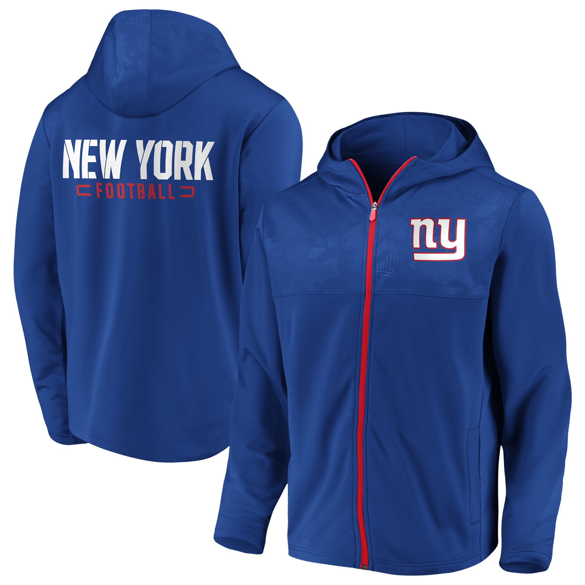 New York Giants NFL Pro Line by Fanatics Branded Big & Tall Iconic Defender Mission Primary Full-Zip Hoodie - Royal