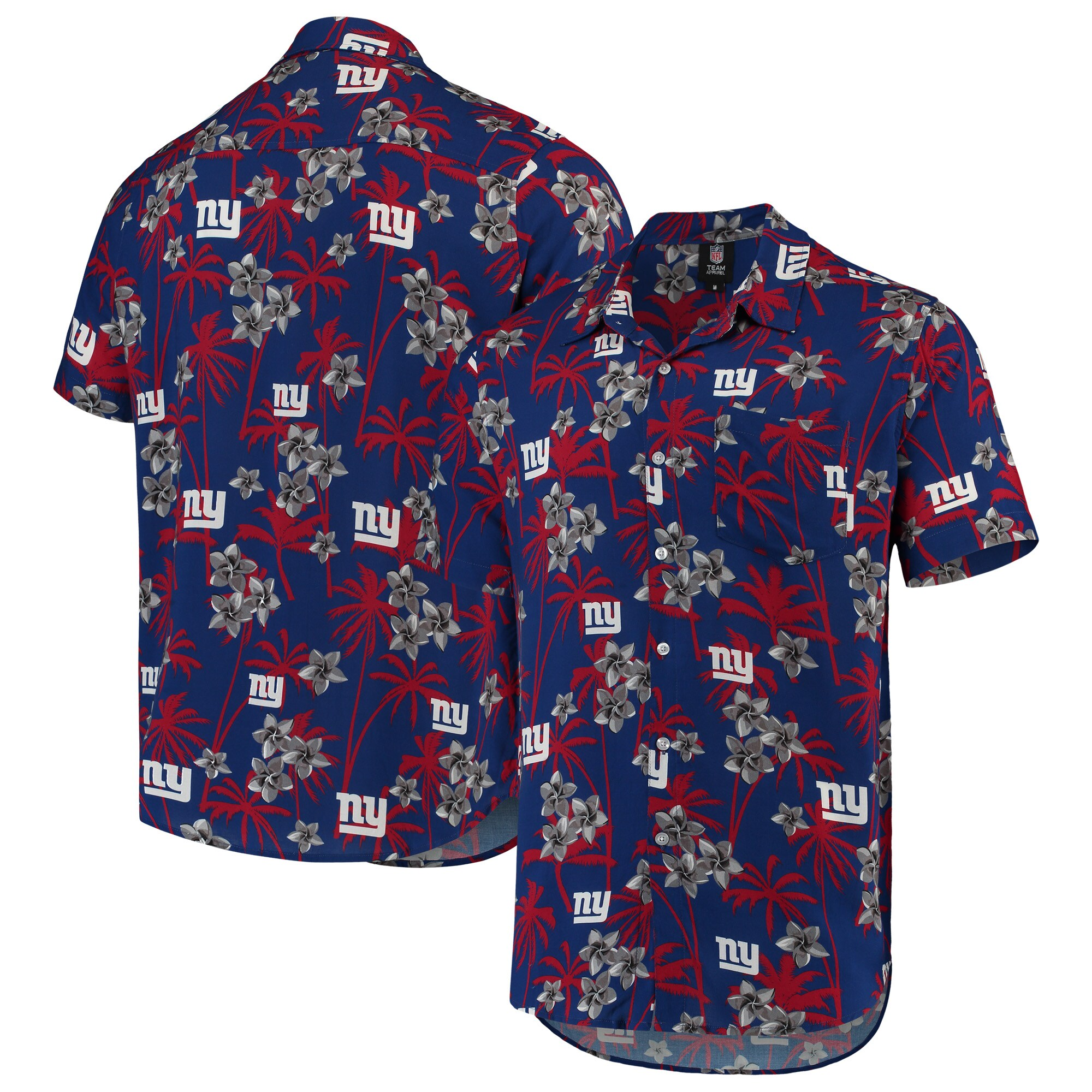 New York Giants Floral Woven Button-Up Shirt - Royal
