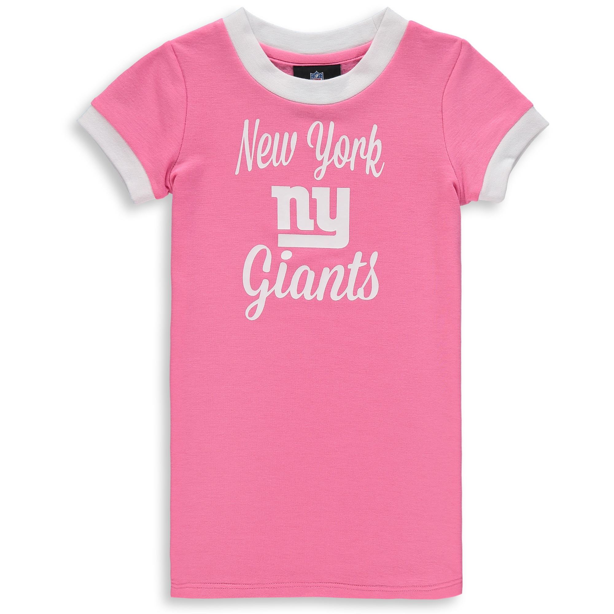 New York Giants Infant Yardline Ringer Tee Dress - Pink
