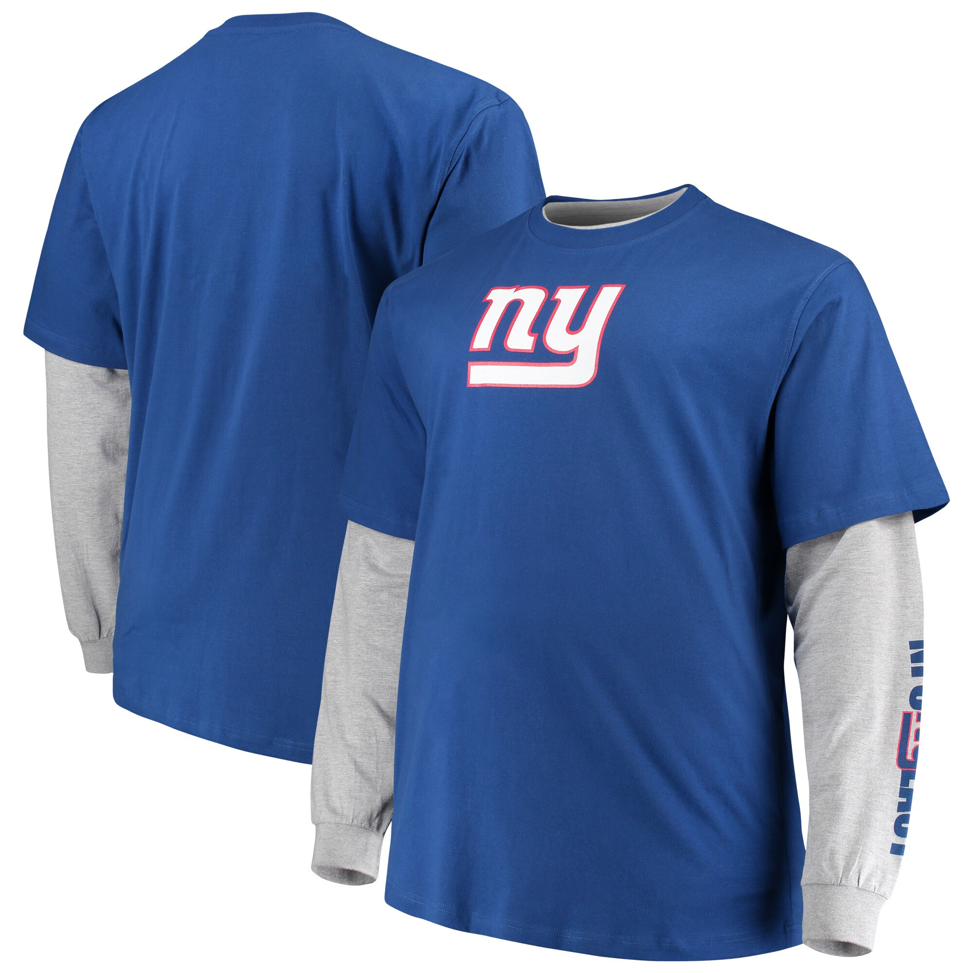 New York Giants Majestic Big & Tall T-Shirt Combo Set - Royal/Heathered Gray