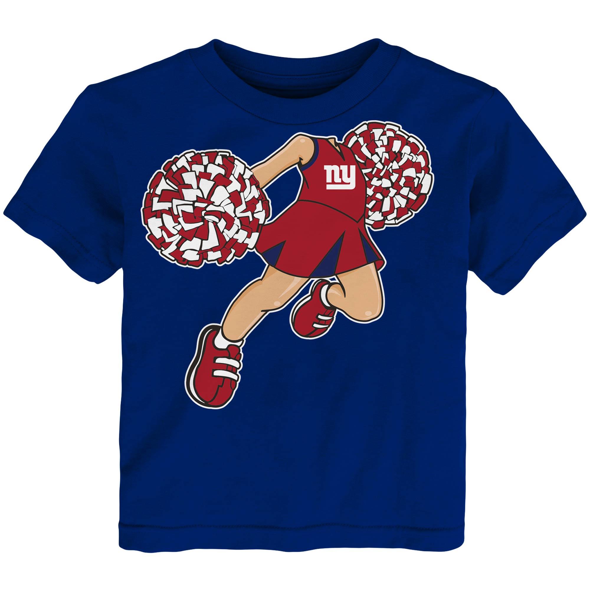 New York Giants Girls Toddler Pom Pom Cheer T-Shirt - Royal
