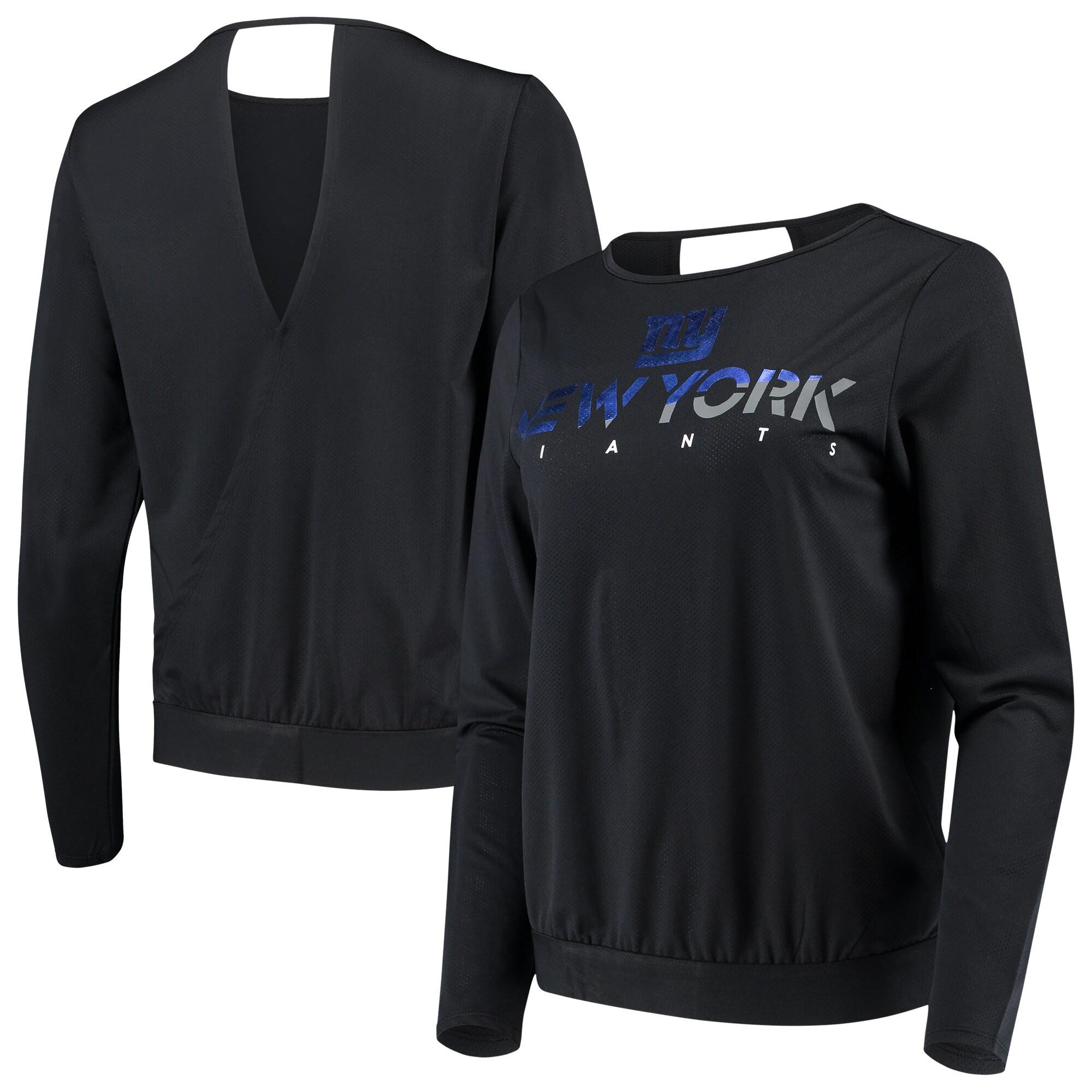 New York Giants Touch by Alyssa Milano Women's Breeze Back Long Sleeve T-Shirt - Black
