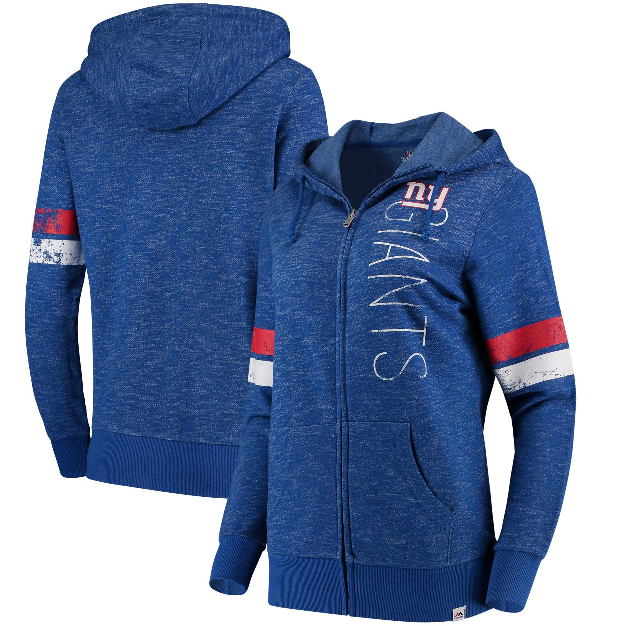 New York Giants Majestic Women's Athletic Tradition Full-Zip Hoodie - Heathered Royal