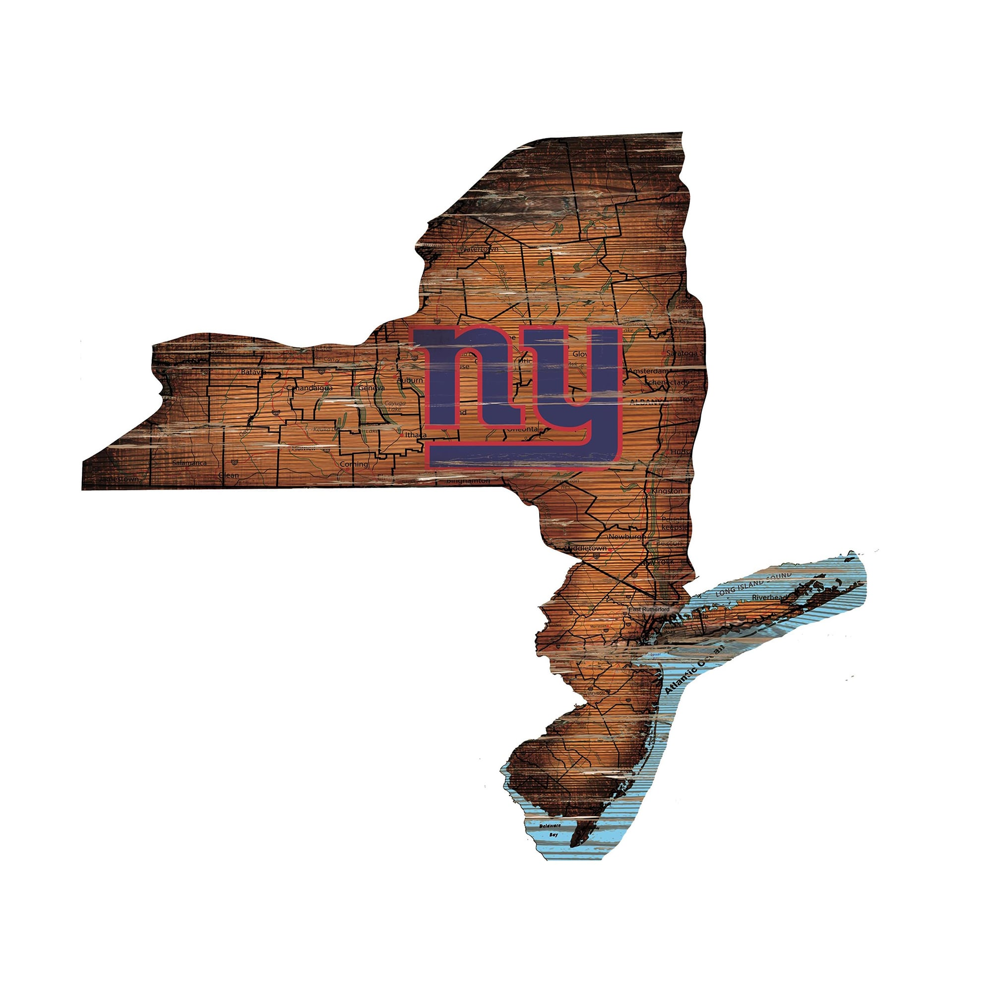 """New York Giants 23.5"""" x 23.5"""" Distressed State with Logo Sign"""