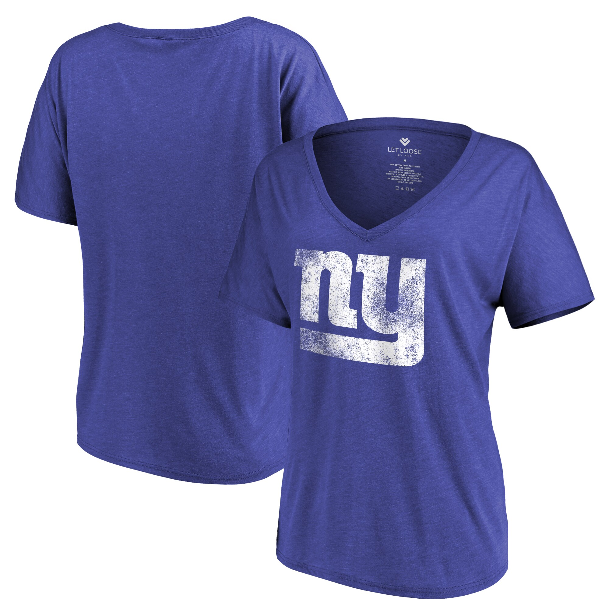 New York Giants Let Loose by RNL Women's Distressed Primary V-Neck T-Shirt - Royal