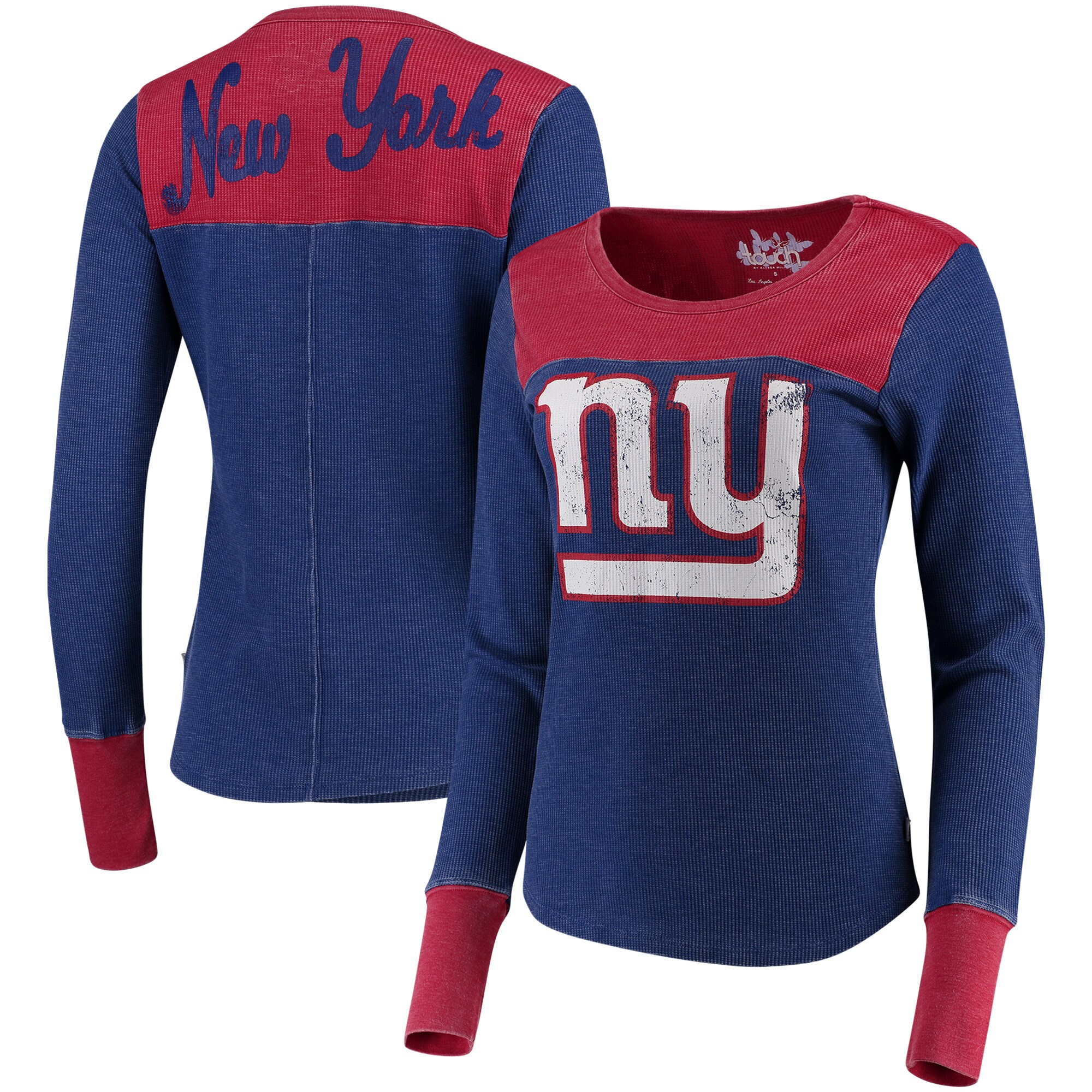 New York Giants Touch by Alyssa Milano Women's Blindside Long Sleeve Tri-Blend Thermal T-Shirt - Royal/Red