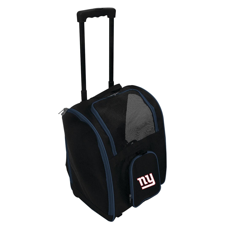 New York Giants 2-Wheeled Roller Pet Carrier - Black